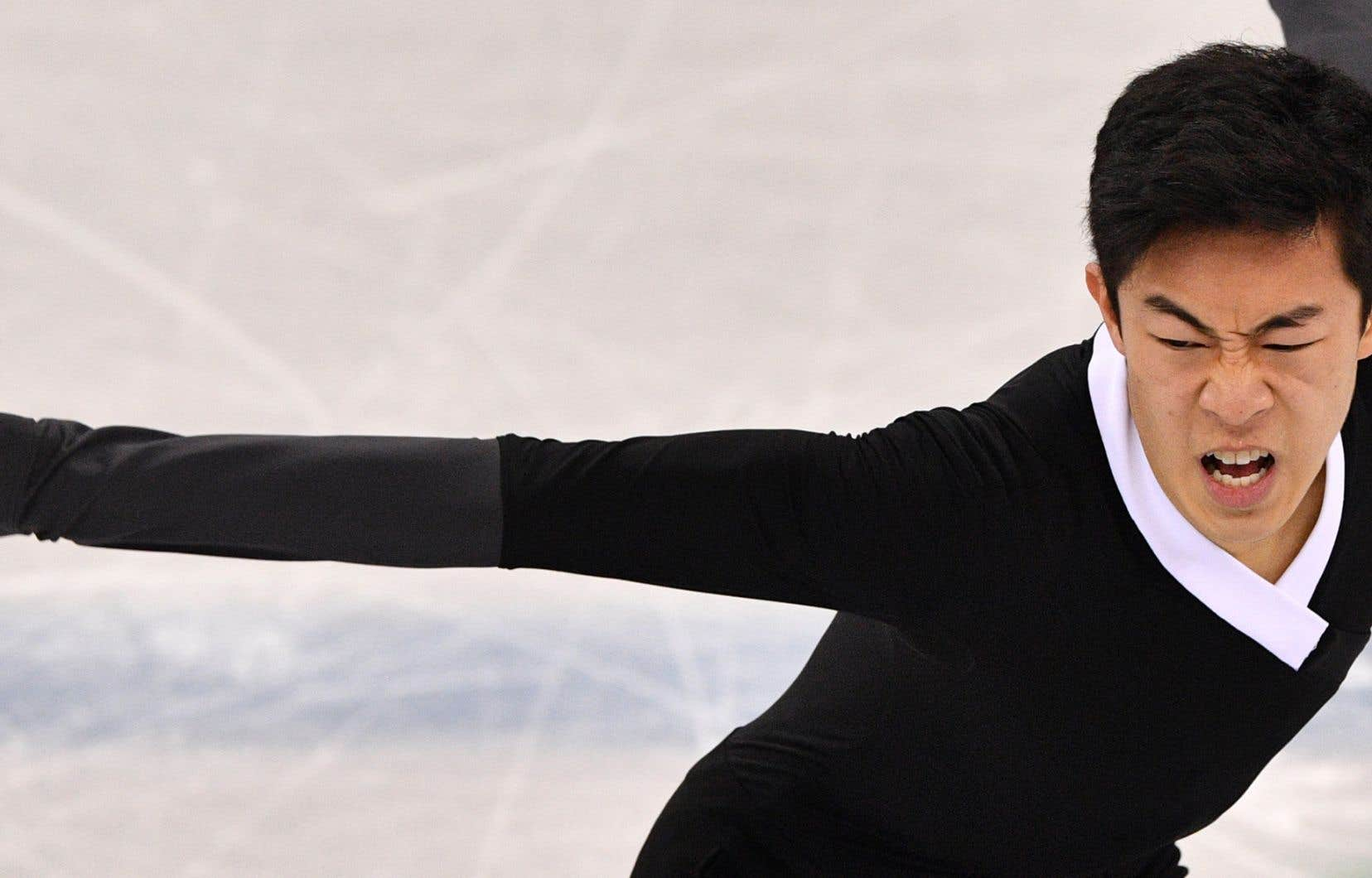 Nathan Chen aux Jeux de Pyeongchang. Ses principaux adversaires à Skate America seront son compatriote Vincent Zhou ainsi que le Russe Sergei Voronov.