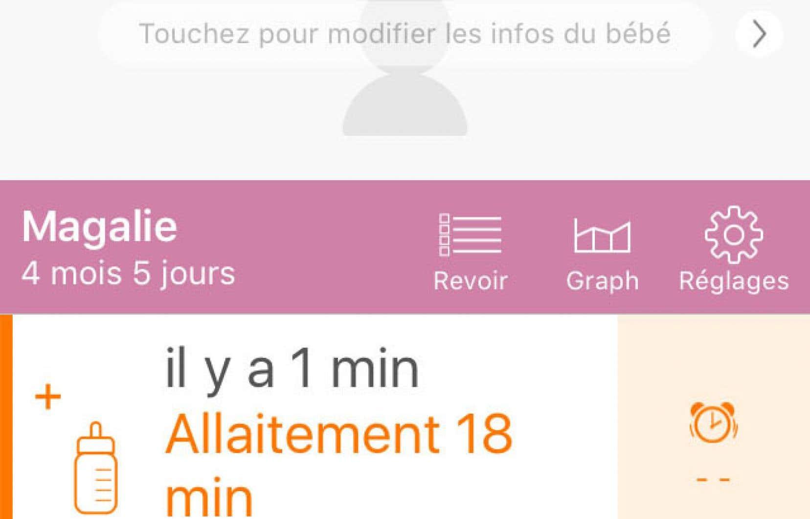 L'application Baby Tracker (dont l'interface est en français, malgré le nom) est conçue pour retenir dans le détail tout ce qu'il y a à penser avec un bébé.