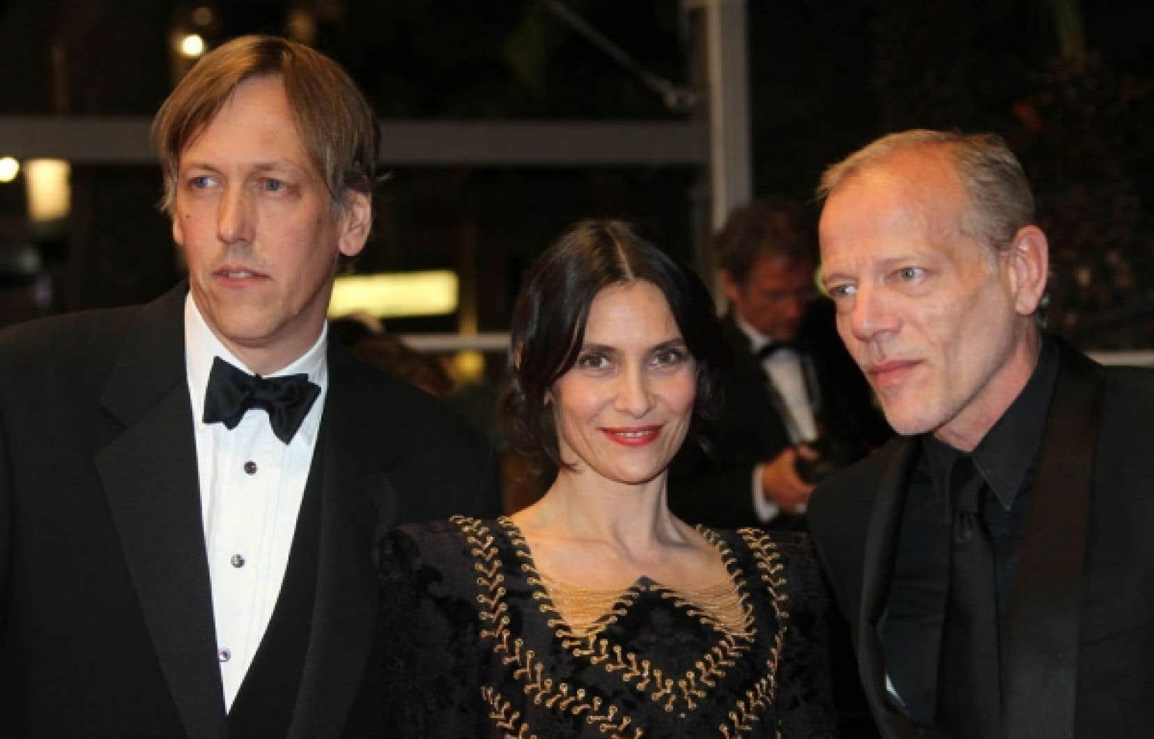 Le cinéaste américain Lodge Kerrigan et les acteurs français Géraldine Pailhas et Pascal Greggory, vedettes du film Rebbeca H.