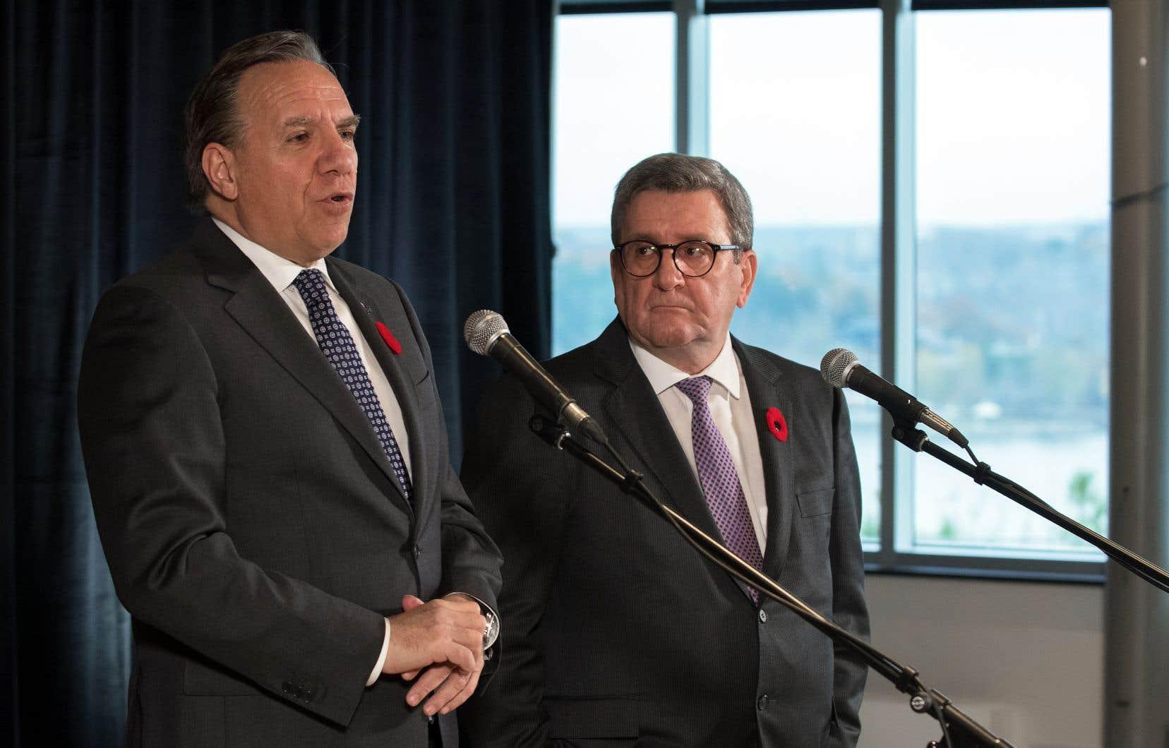 Le premier ministre François Legault et le maire de Québec, Régis Labeaume, ont eu une première rencontre depuis le scrutin d'octobre.
