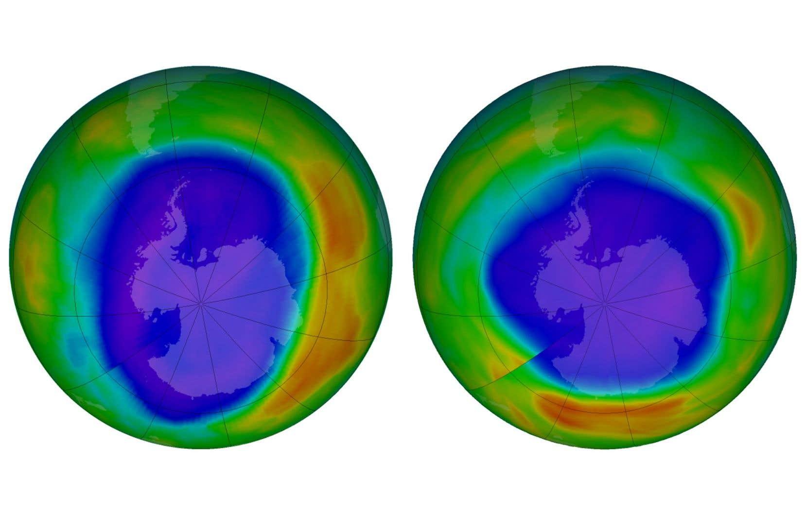 Cette combinaison d'images montre des zones de faible ozone au-dessus de l'Antarctique de septembre 2000, à gauche, et de septembre 2018. Les couleurs violettes et bleues sont celles où il y a le moins d'ozone, et les jaunes et les rouges sont celles où il y a plus d'ozone.