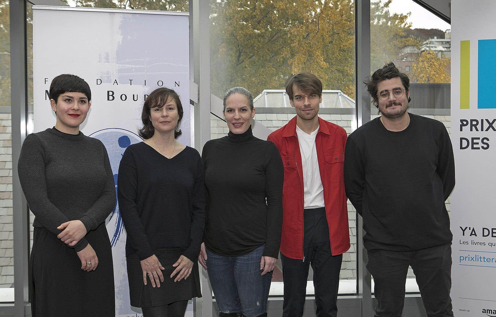 Les auteurs Lula Carballo, Dominique Fortier, Karoline Georges, Kevin Lambert et Jean-Christophe Réhel étaient présents lors du dévoilement des cinq fictions finalistes.