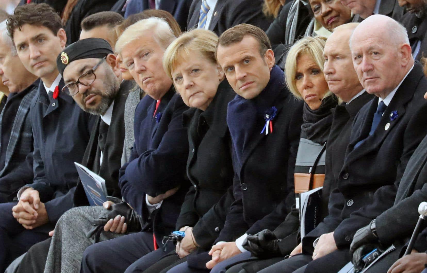 Justin Trudeau, Mohammed VI,Donald Trump, Angela Merkel, Emmanuel Macron et Vladimir Poutine étaient parmi les chefs d'État réunis à Paris pour célébrer le centenaire de l'Armistice.
