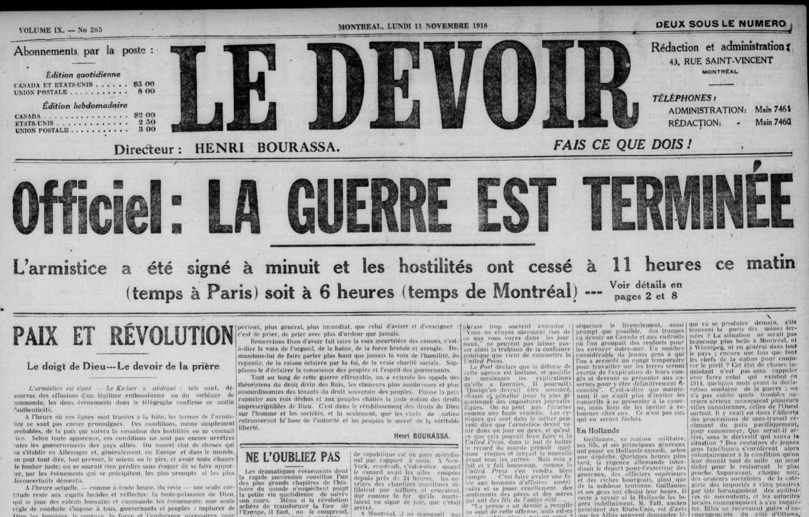 La Une du «Devoir» du 11 novembre 1918