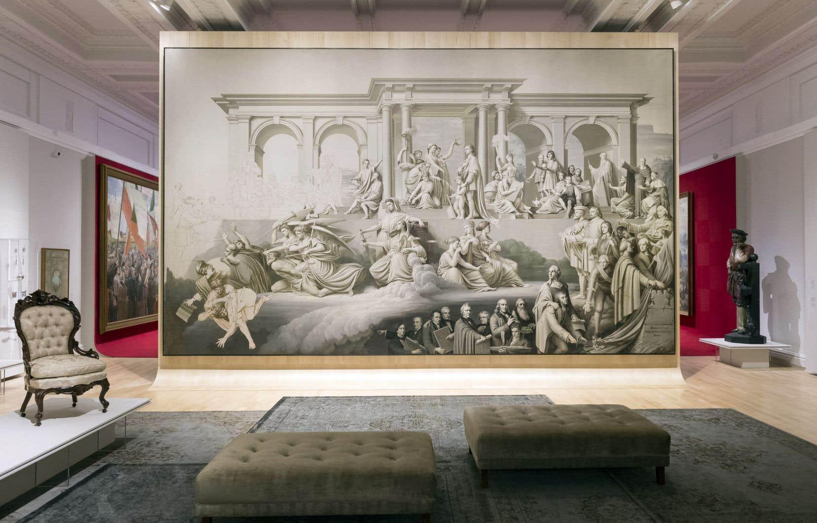 Vue de l'exposition 350 ans de pratiques artistiques au Québec