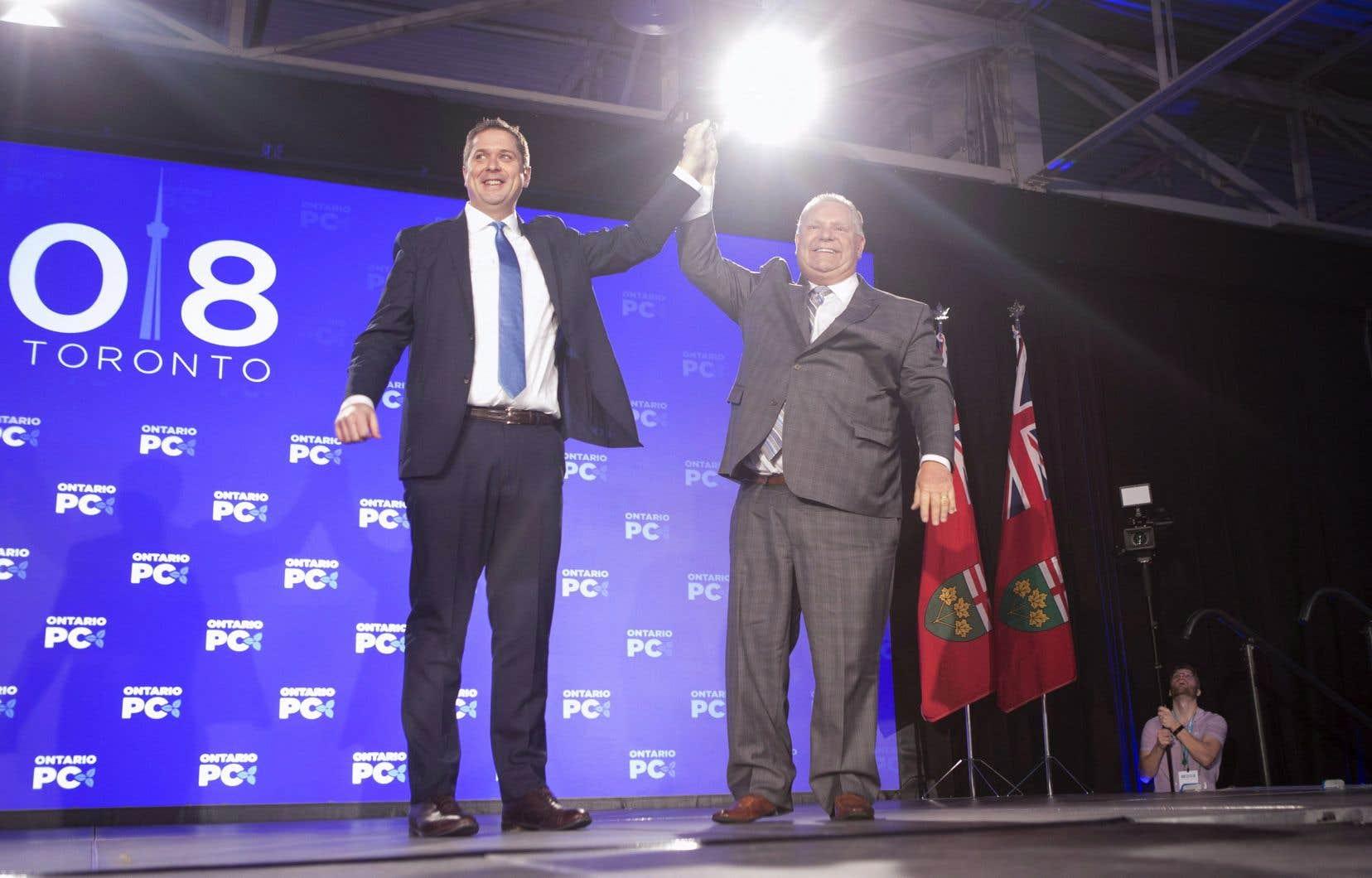 Le chef du Parti conservateur fédéral, Andrew Scheer, et le premier ministre ontarien, Doug Ford, à l'occasion ducongrès du Parti progressiste-conservateur de la province