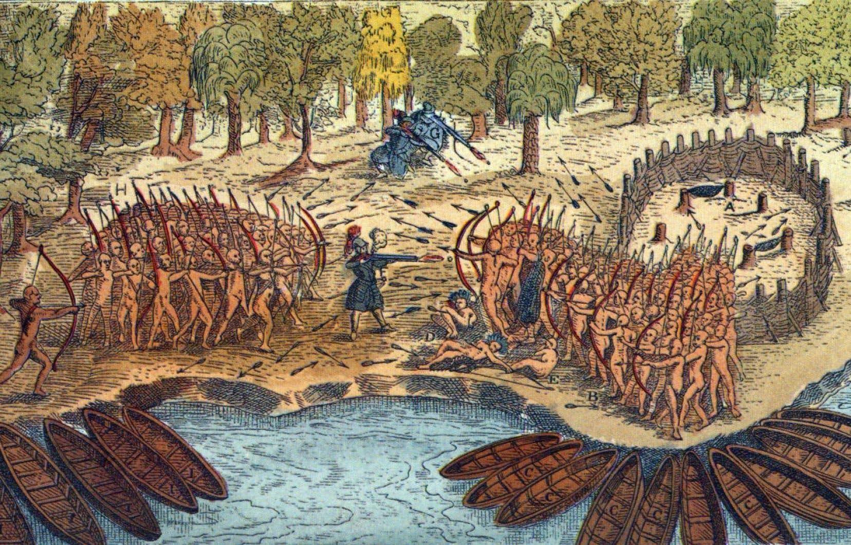 La gravure de la bataille remportée en 1609 par Champlain et ses alliés autochtones contre les Iroquois est un exemple des stéréotypes véhiculés dans les manuels scolaires, estime Bruno Rock du Conseil en éducation des Premières Nations. Il s'agit de la seule représentation connue du fondateur de Québec qui s'est dessiné au centre de l'action.
