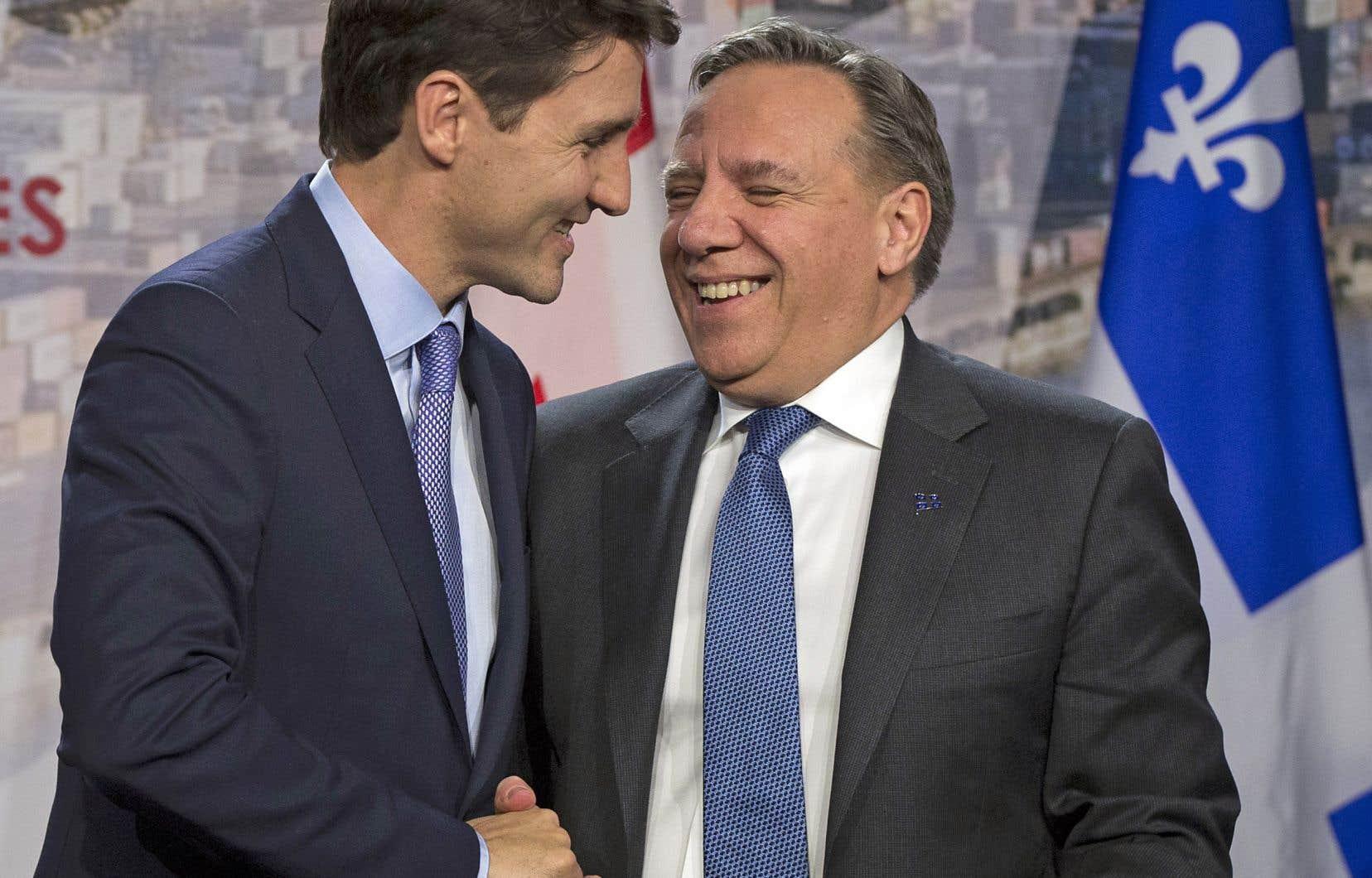 Le premier ministre fédéral, Justin Trudeau, et son homologue québécois, François Legault