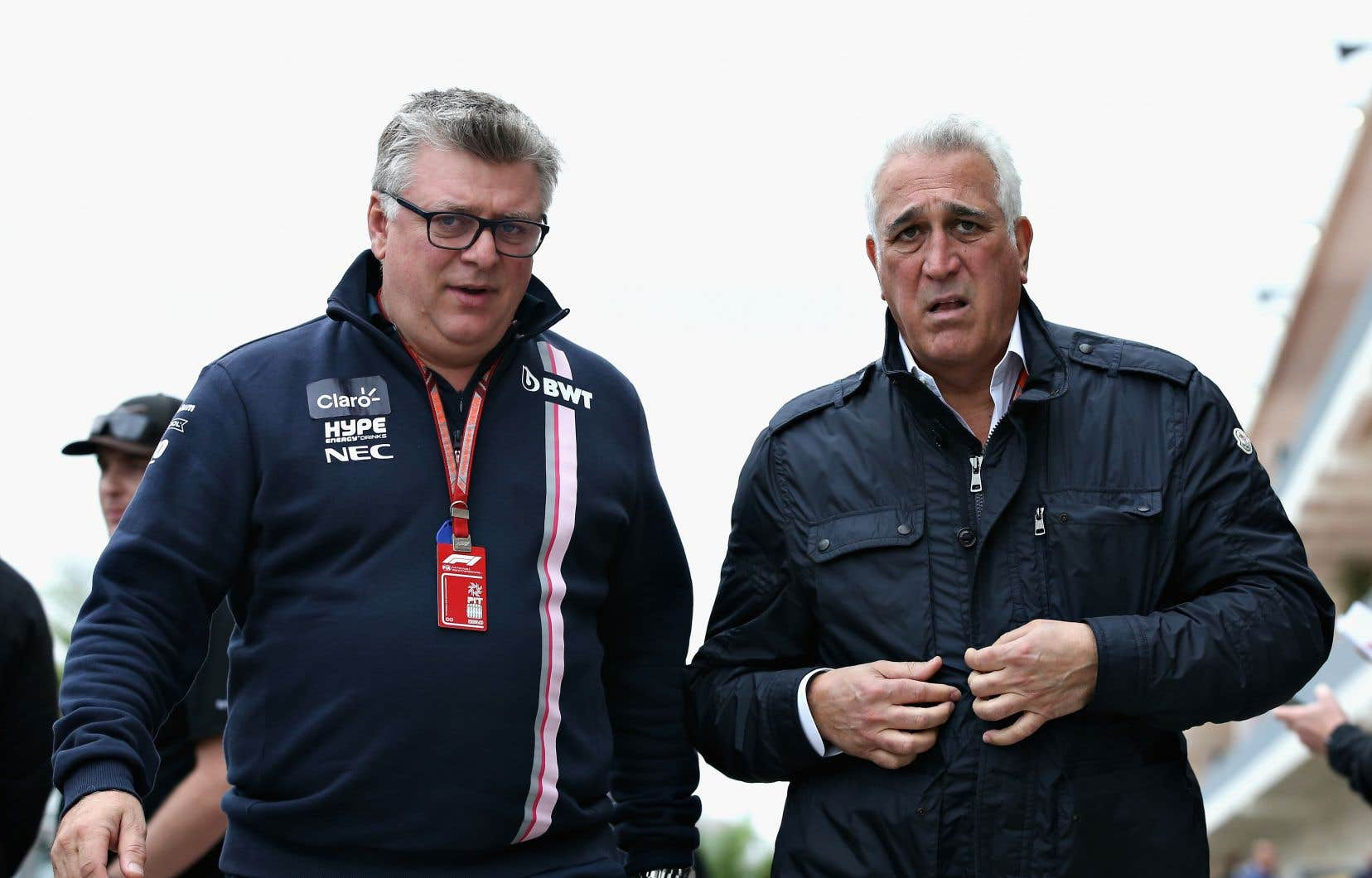 Otmar Szafnauer et Lawrence Stroll au Circuit des Amériques à Austin au Texas, le 20 octobre dernier.
