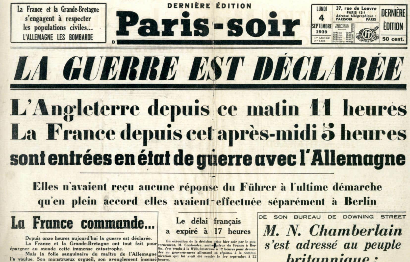 Une page du 4septembre 1939