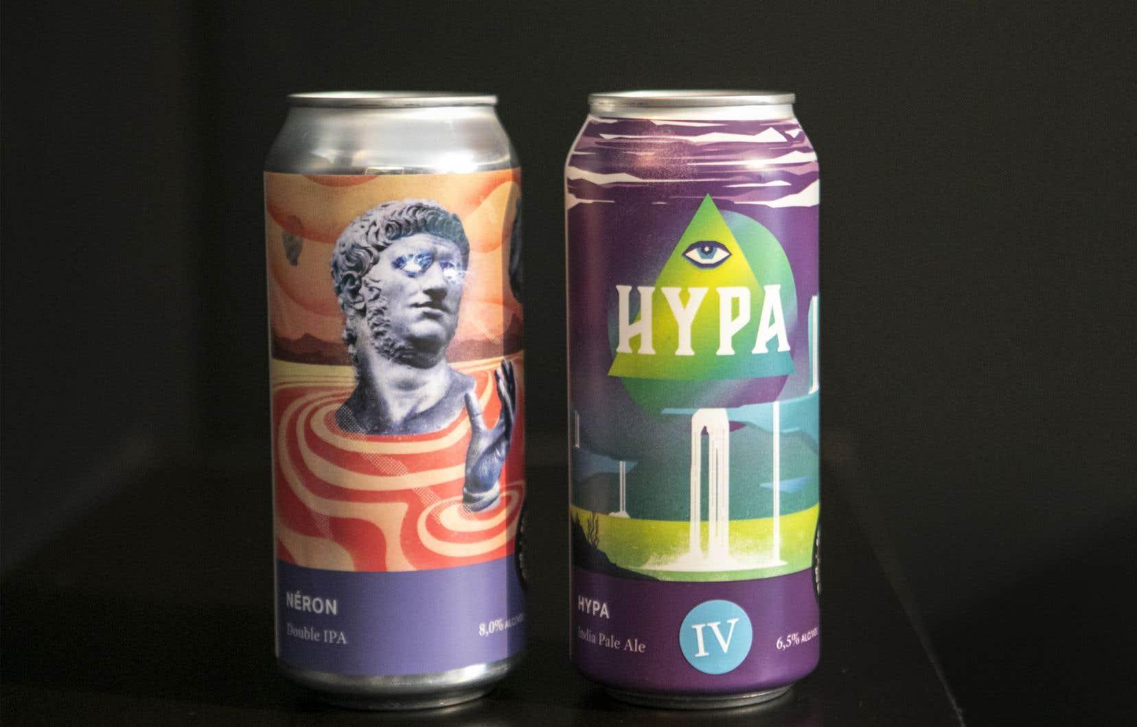 Deux produits phares de la Brasserie du Bas-Canada: la double IPA Néron et la quatrième itération de la série HYPA.
