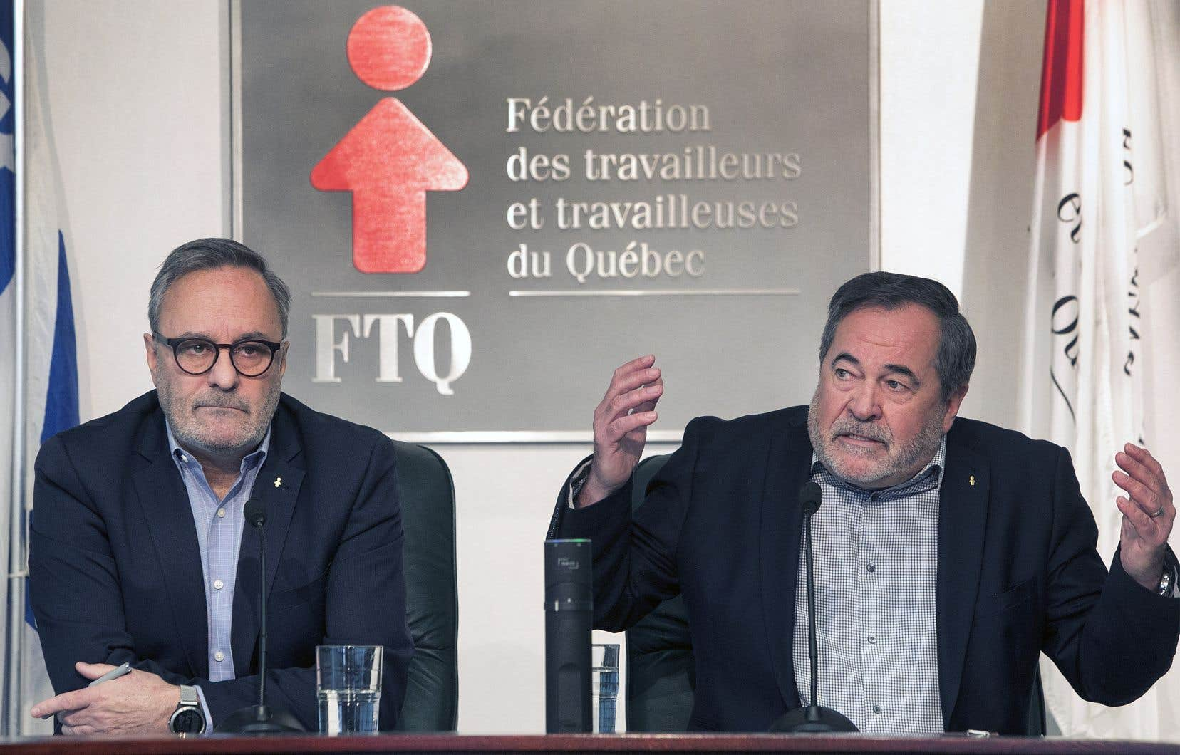 Le présidentde la FTQ, Daniel Boyer, et le secrétaire général de la FTQ,Serge Cadieux