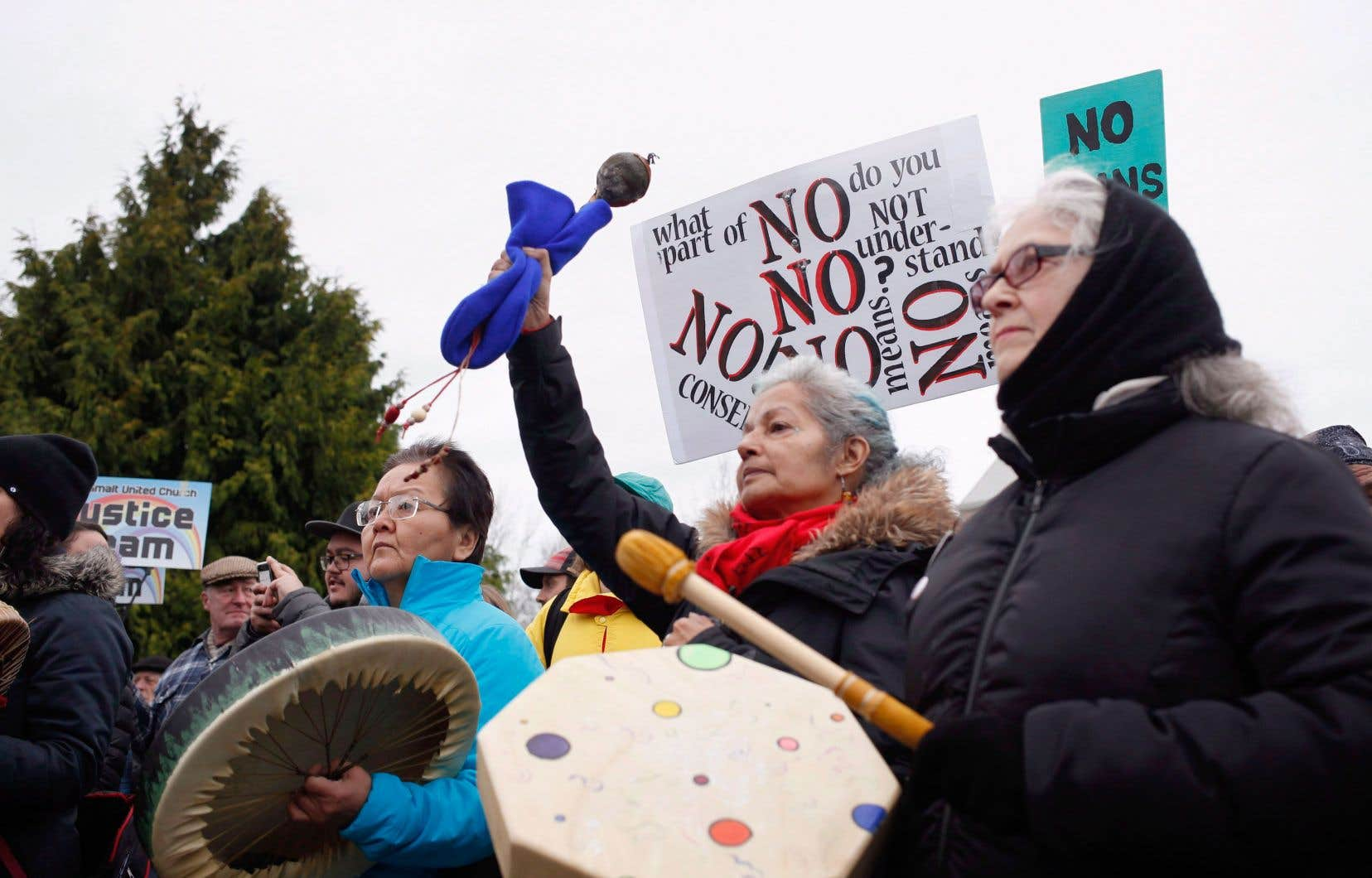 Manifestation d'appui aux membres de la nation Wet'suwet'en devant le parlement de la Colombie-Britannique, à Victoria, le 8 janvier dernier