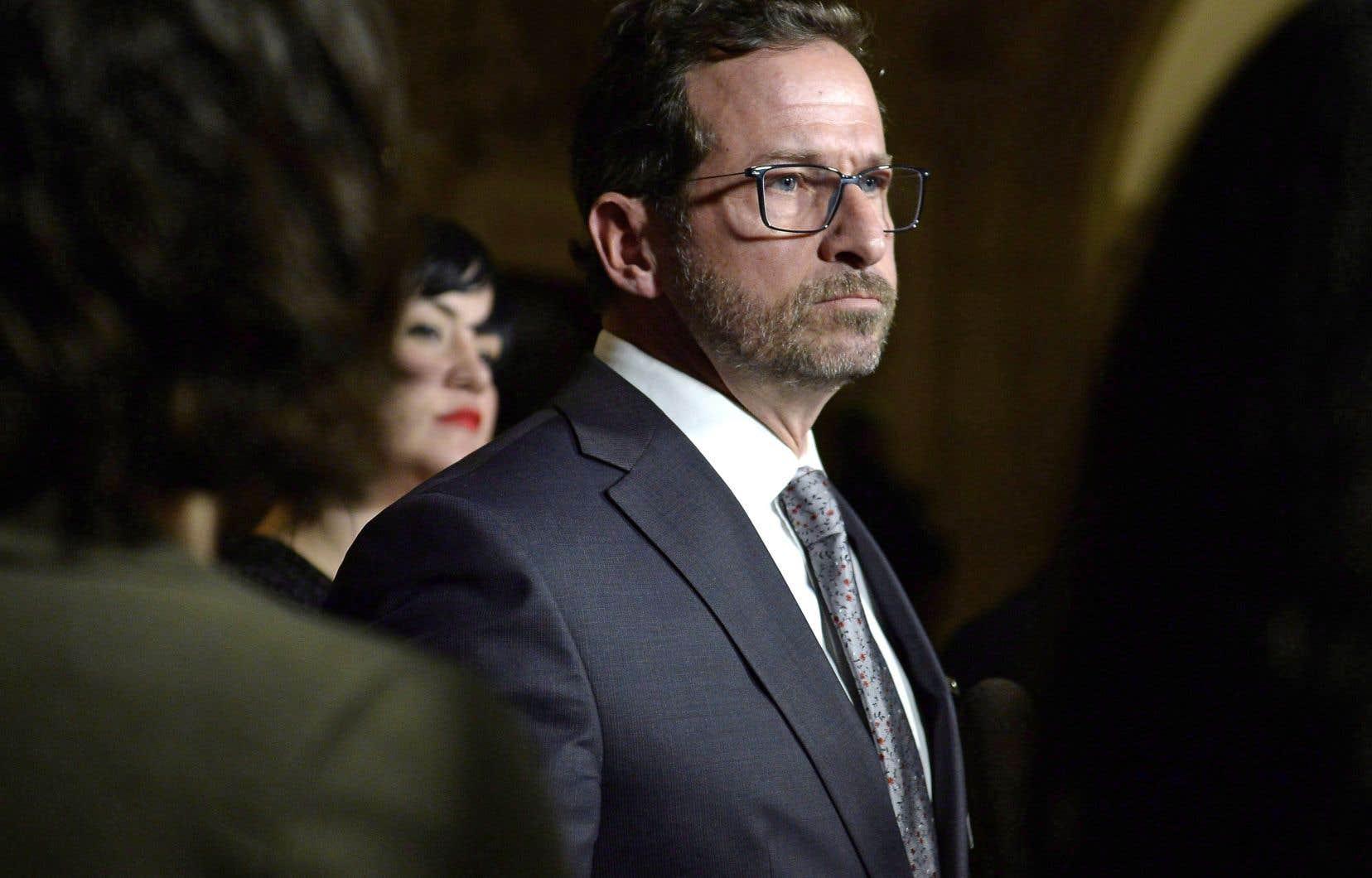 Yves-François Blanchet a rencontré la presse parlementaire à Ottawa après sa nomination à la tête du Bloc québécois, jeudi.