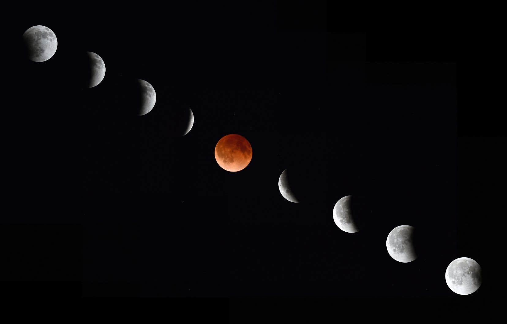 Vue de la Lune au cours des différentes phases d'une éclipse lunaire le 15 avril 2014 à Magdalena, au Nouveau-Mexique.