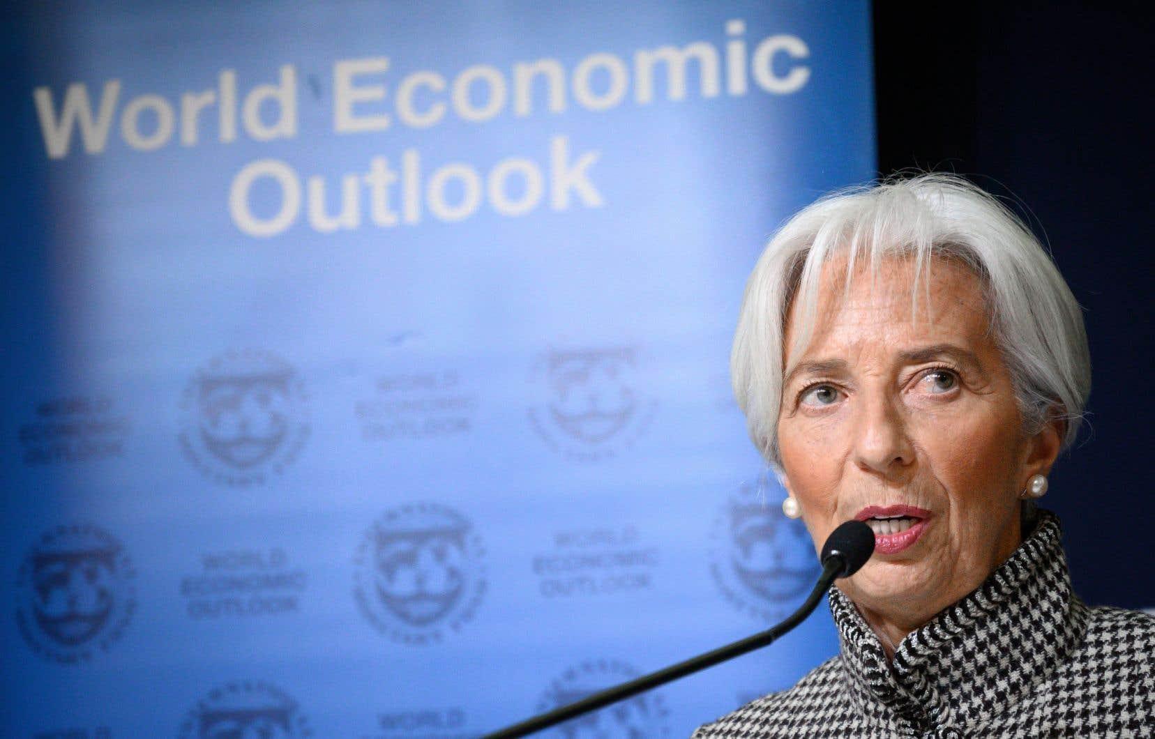 La directrice générale du Fonds monétaire international, Christine Lagarde, en conférence de presse lundi à Davos, en Suisse