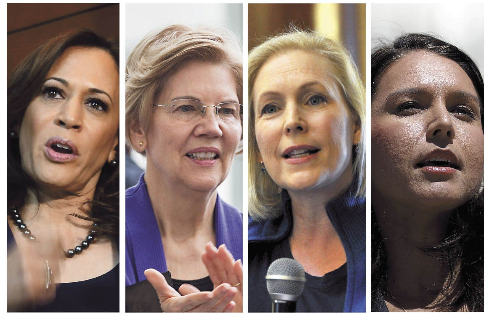 De gauche à droite: Kamala Harris, Elizabeth Warren, Kirsten Gillibrand, Tulsi Gabbard se sont toutes lancées dans la course à l'investiture démocrate.