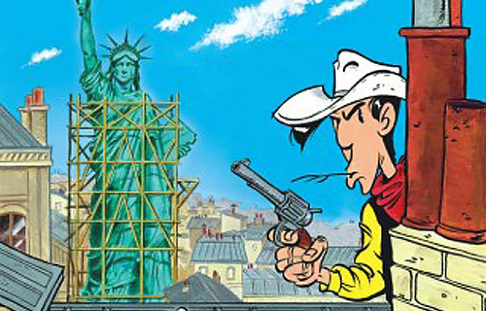 On se réjouit de la récurrence du gag où les Parisiens ne cessent de voir en Lucky un Belge à cause du noir-jaune-rouge de ses vêtements.