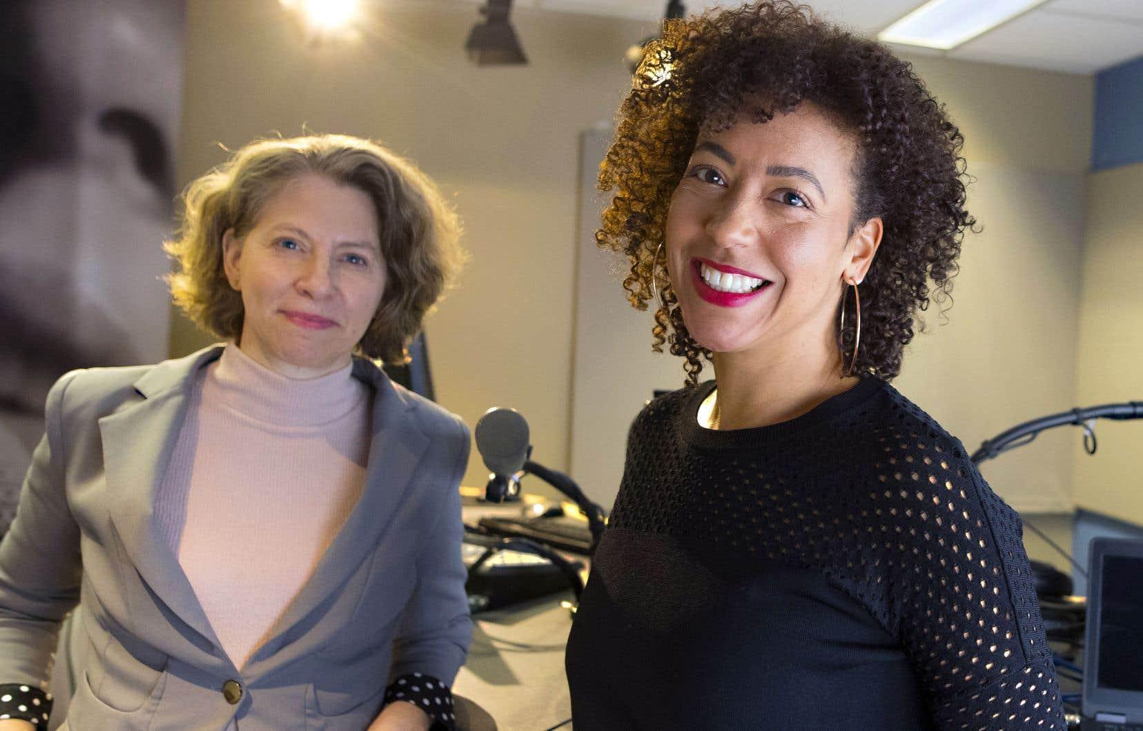 «Rapophonie» est le fruit d'une rencontre, en mars dernier, des diffuseurs membres de l'association Médias francophones publics. Au Canada, le créneau est tenu par Myriam Fehmiu (à droite), ici en compagnie de Josée Bellemare, première directrice à ICI Musique.