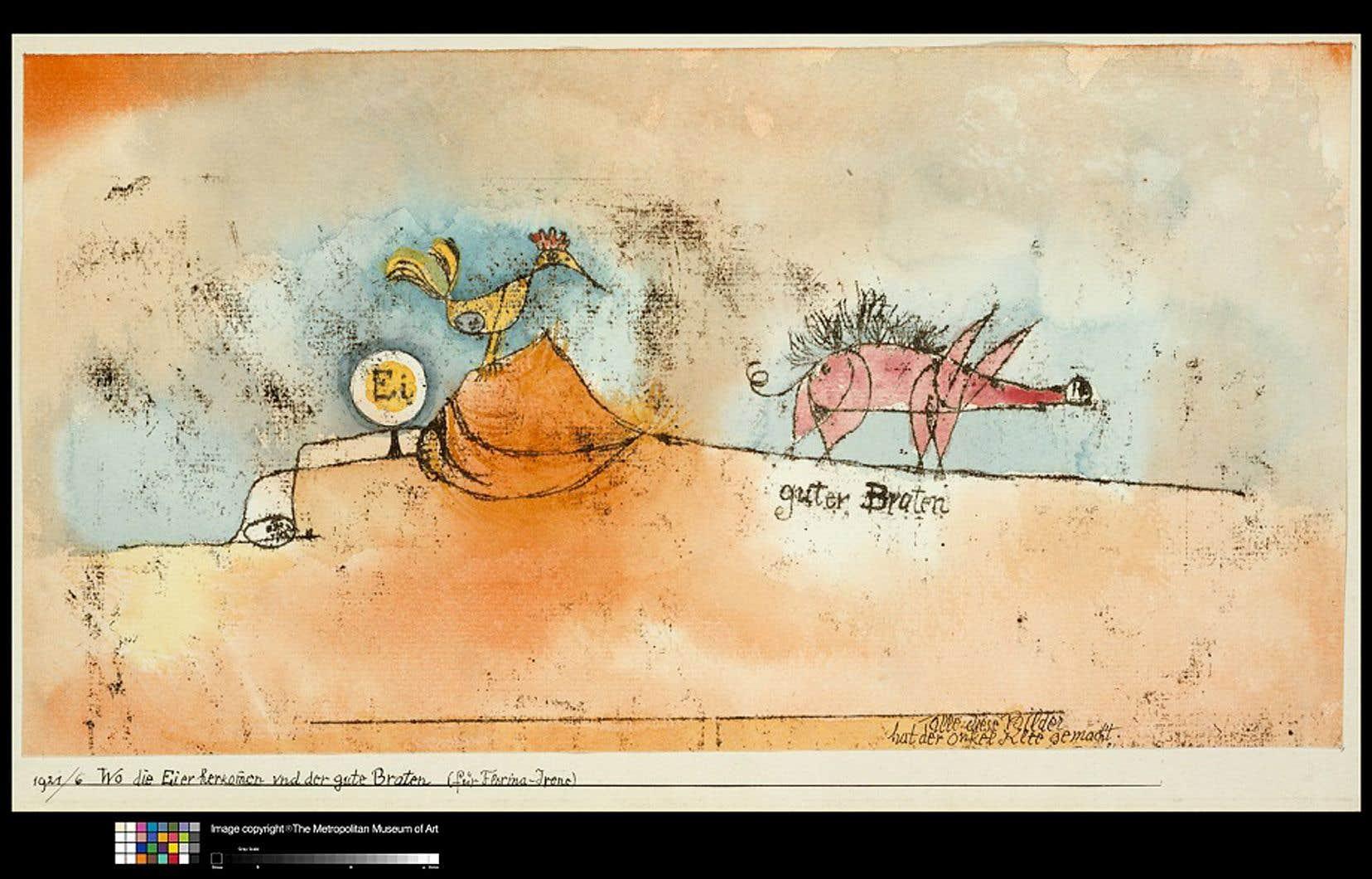 Paul Klee, «D'où viennent les œufs et le bon rôti», 1921