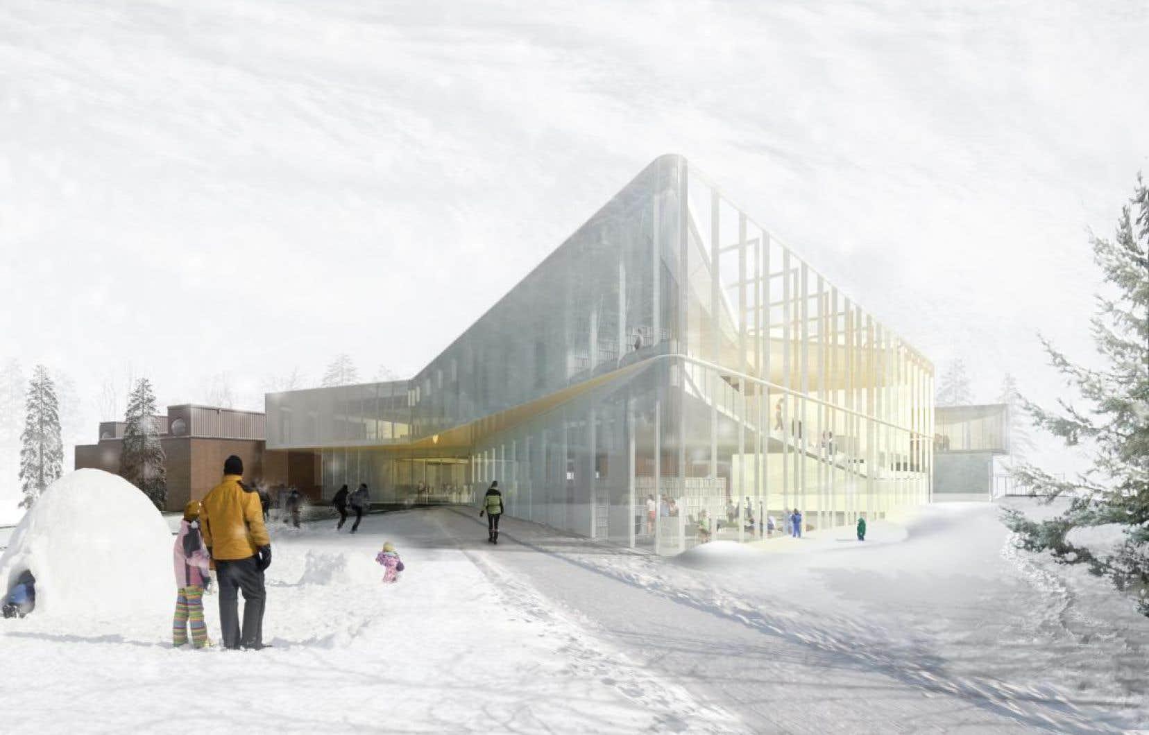 C'est le contrat d'agrandissement de la bibliothèque de Pierrefonds (qu'on voit ici sur une illustration d'architecte) qui est au cœur de l'enquête du BIG.