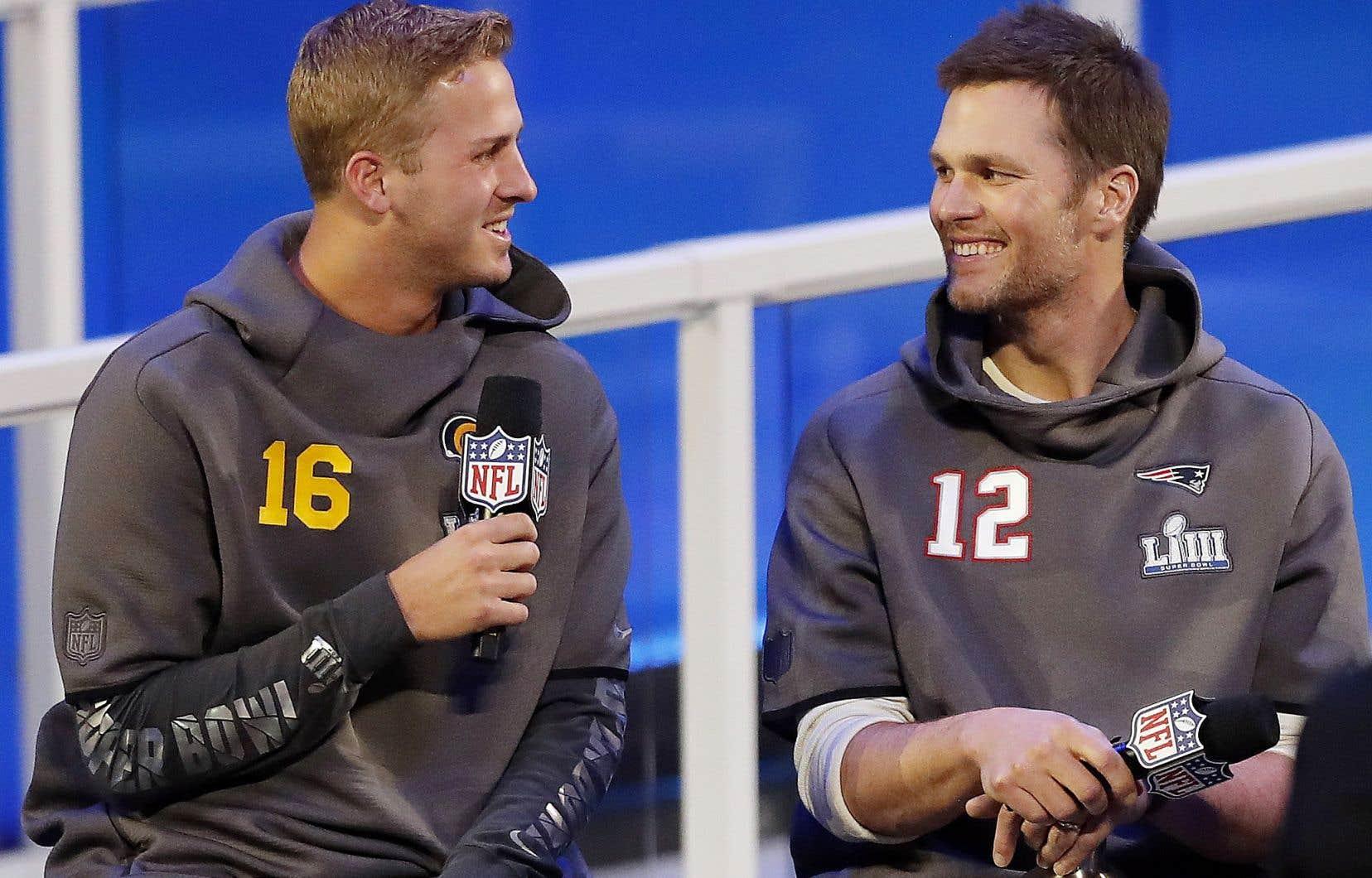 Les quarts Jared Goff, des Rams de Los Angeles, et Tom Brady, des Patriots de la Nouvelle-Angleterre, s'affronteront dimanche dans le match du Super Bowl.