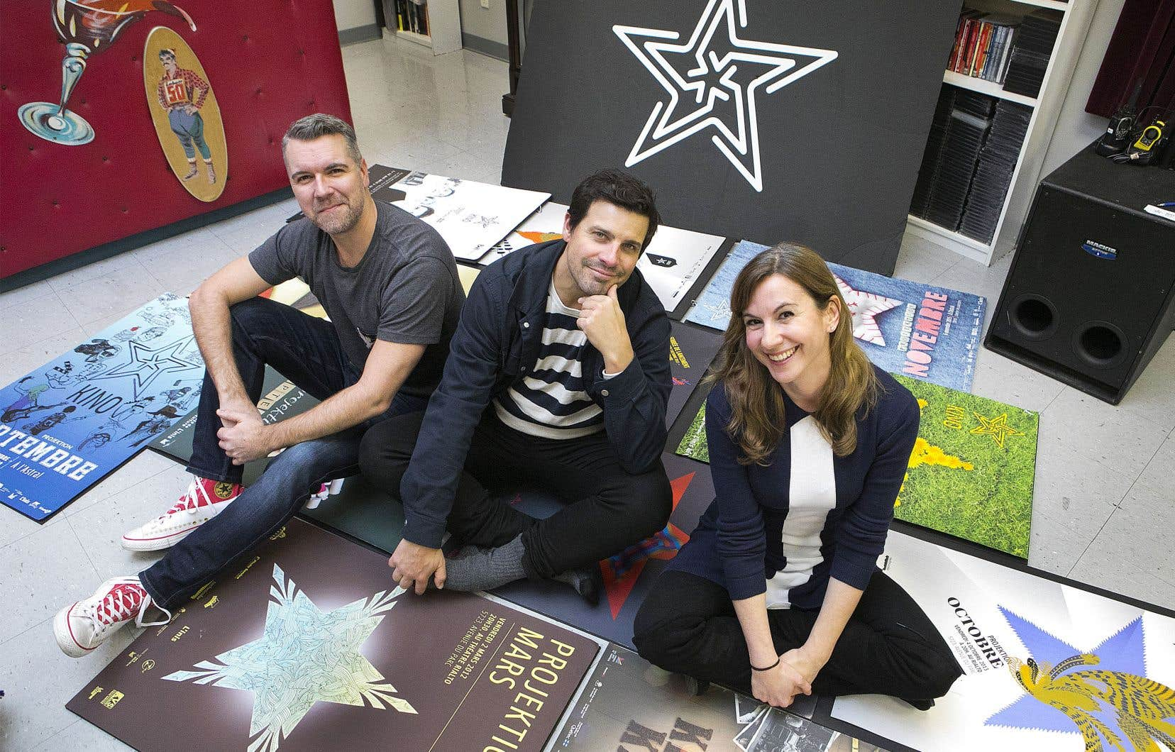 Eza Paventi (à droite) et Christian Laurence (au centre) ont donné naissance au mouvement Kino à l'aube des années 2000, alors qu'ils étaient toujours étudiants. Jarrett Mann (à gauche) occupe aujourd'hui le rôle de directeur artistique de Kino Montréal.