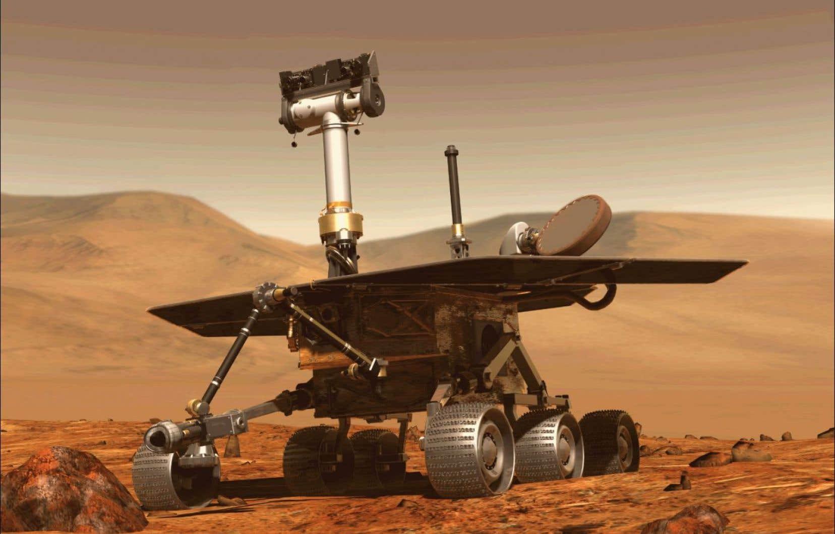 Le robot Opportunity, dont on voit ici sur une illustration 3D de la NASA, roulait sur Mars depuis 2004.