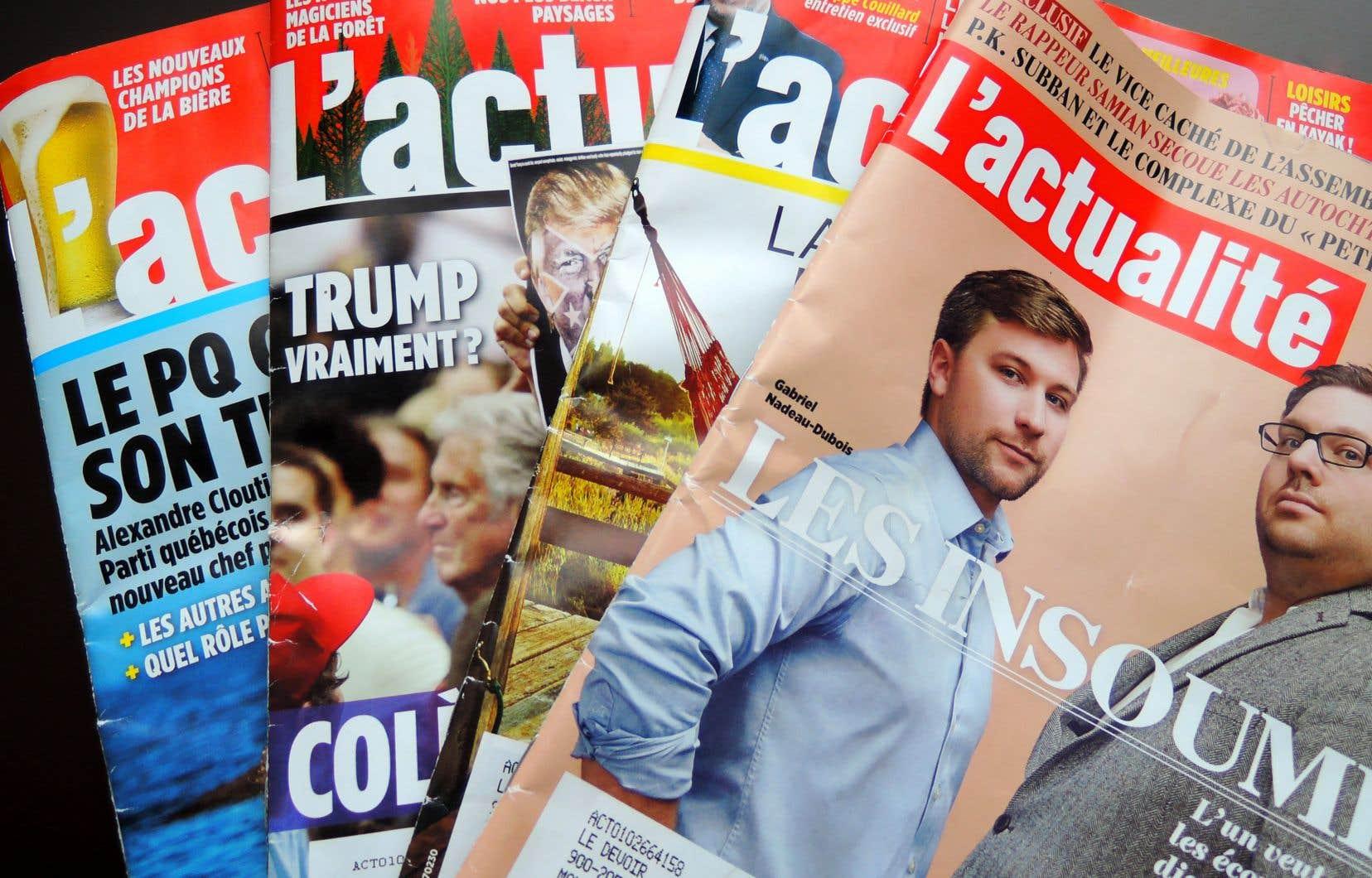 Le magazine «L'actualité» avait reçu 800000$ de Patrimoine canadien en 2018 en comparaison de 1,2million en 2017.