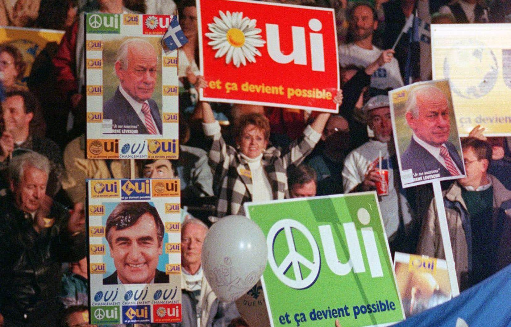 Des partisans du Oui, à cinq jours du référendum de 1995