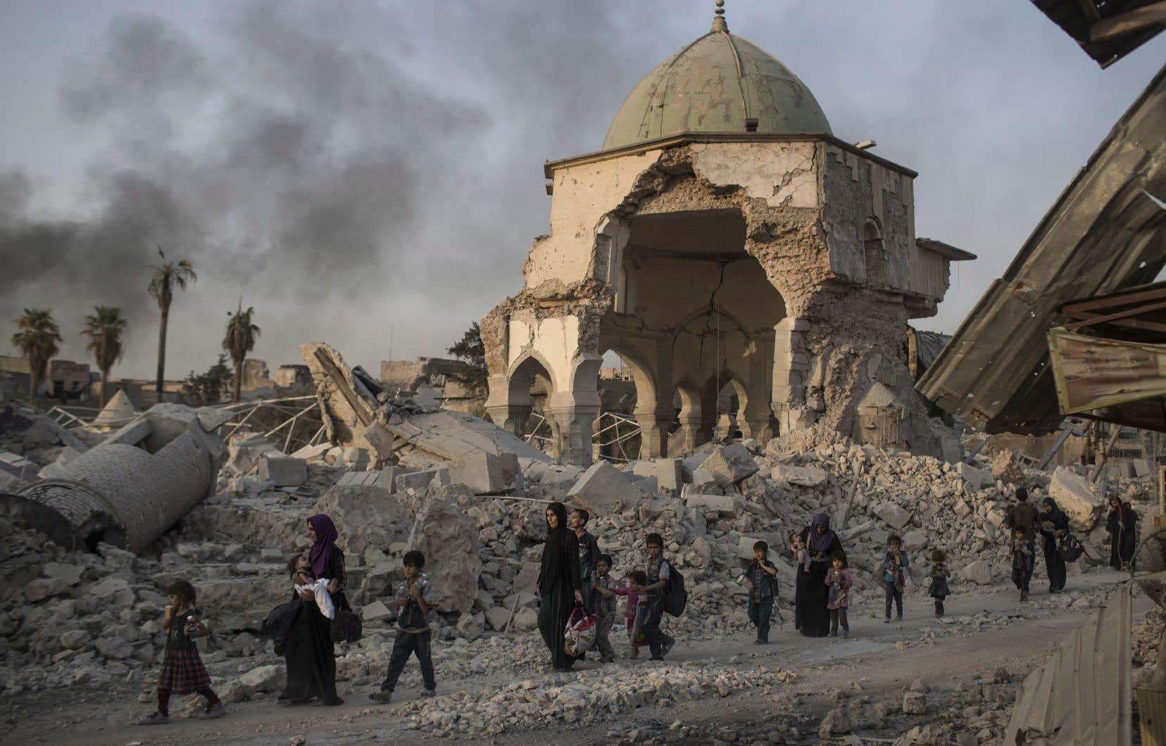 L'emblématique mosquée Al-Nouri, quasi détruite, en juillet 2017
