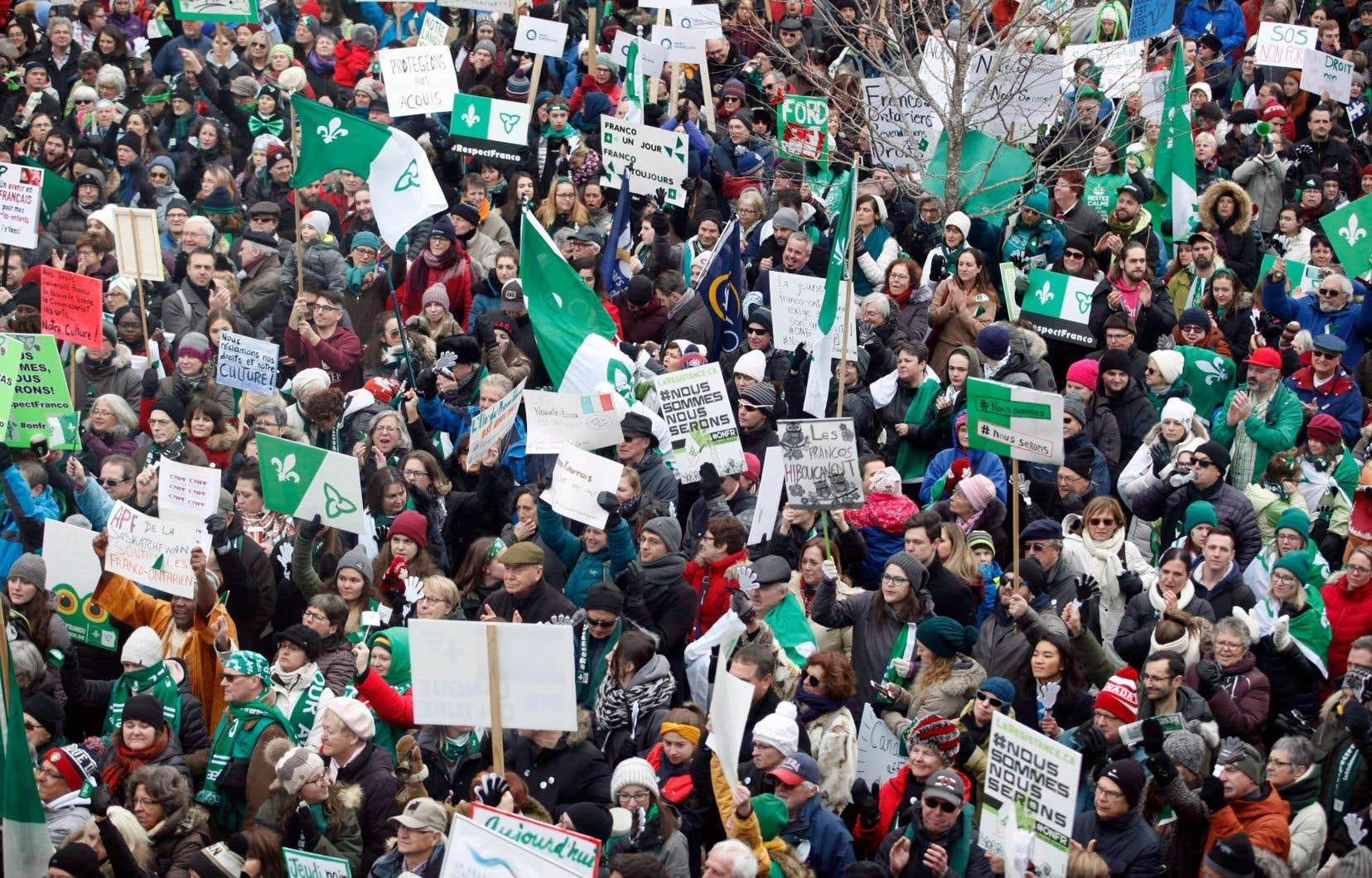Manifestation à Ottawa contre les coupes du gouvernement ontarien dans les services aux francophones le 1er décembre dernier
