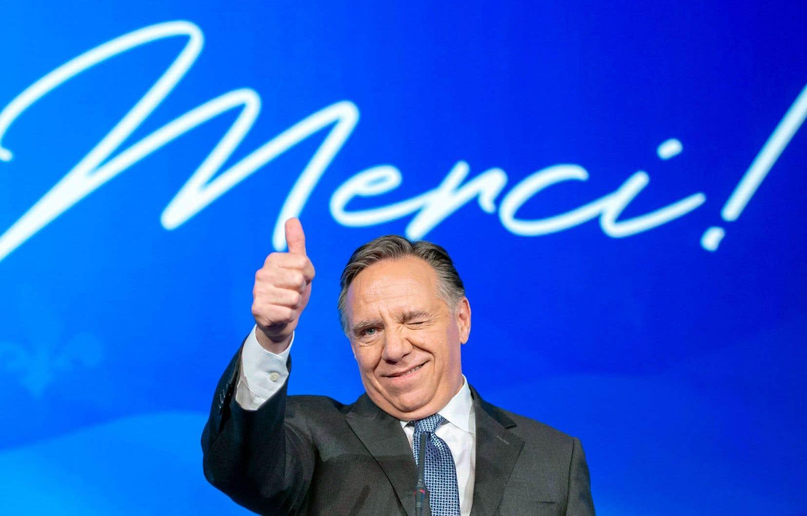 François Legault photographié le soir de la victoire de la CAQ aux élections générales
