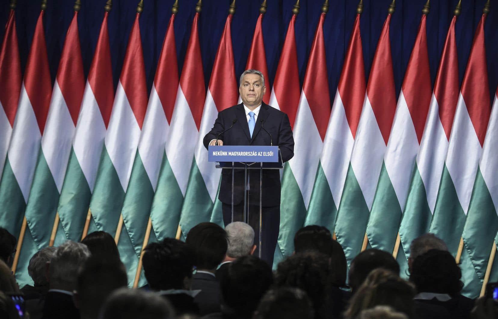 Viktor Orbán livrant son discours à la nation, le 10 février dernier