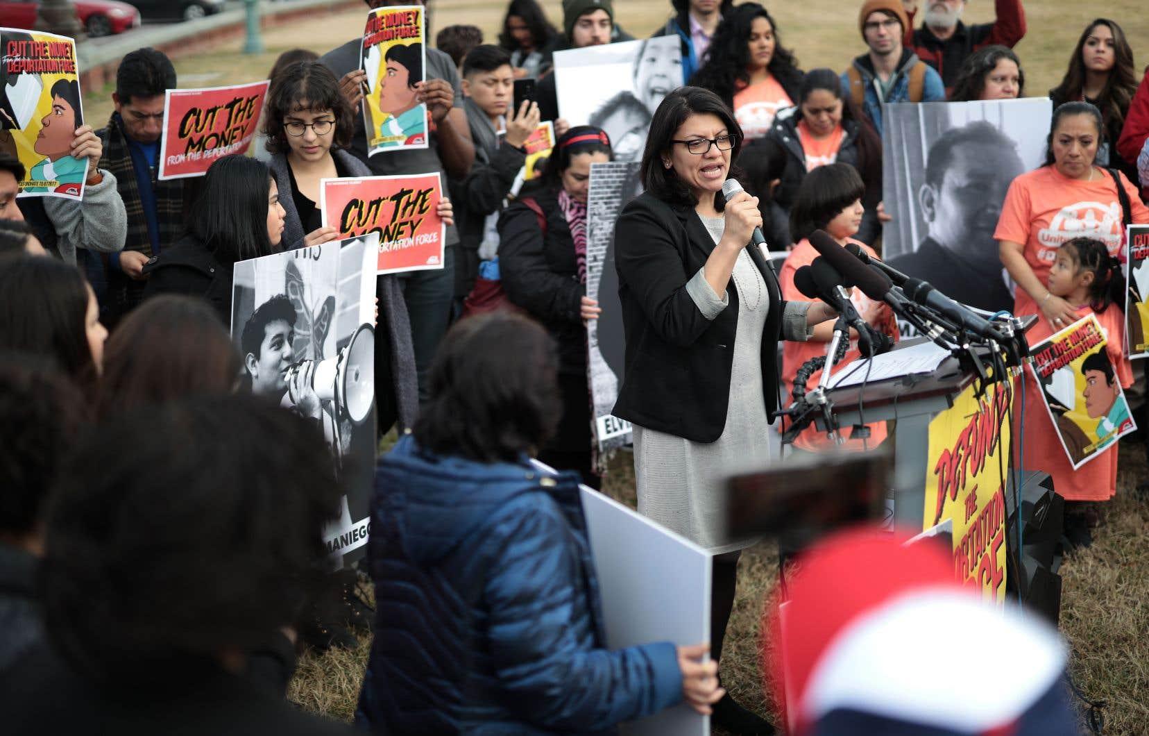Rashida Tlaib prenait la parole lors d'un rassemblement contre la politique migratoire du président américain, le 7février dernier, à Washington.