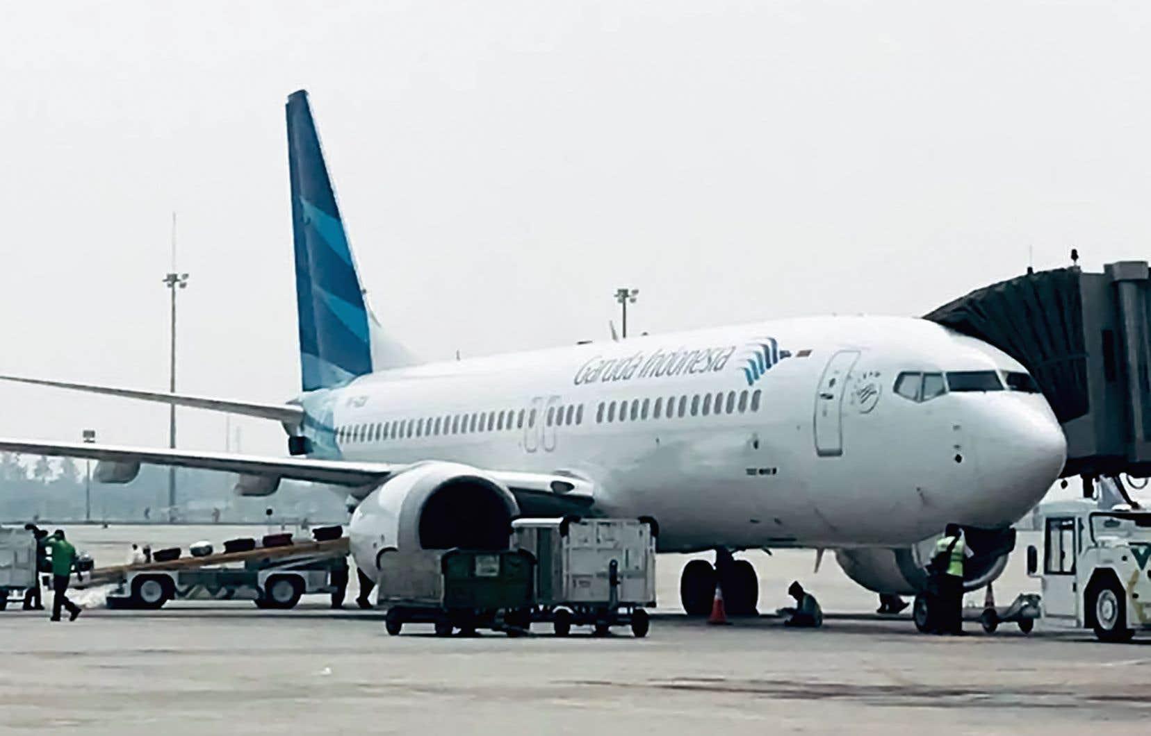 Un Boeing 737 MAX 8 de Garuda Indonesia à l'aéroport de Jakarta