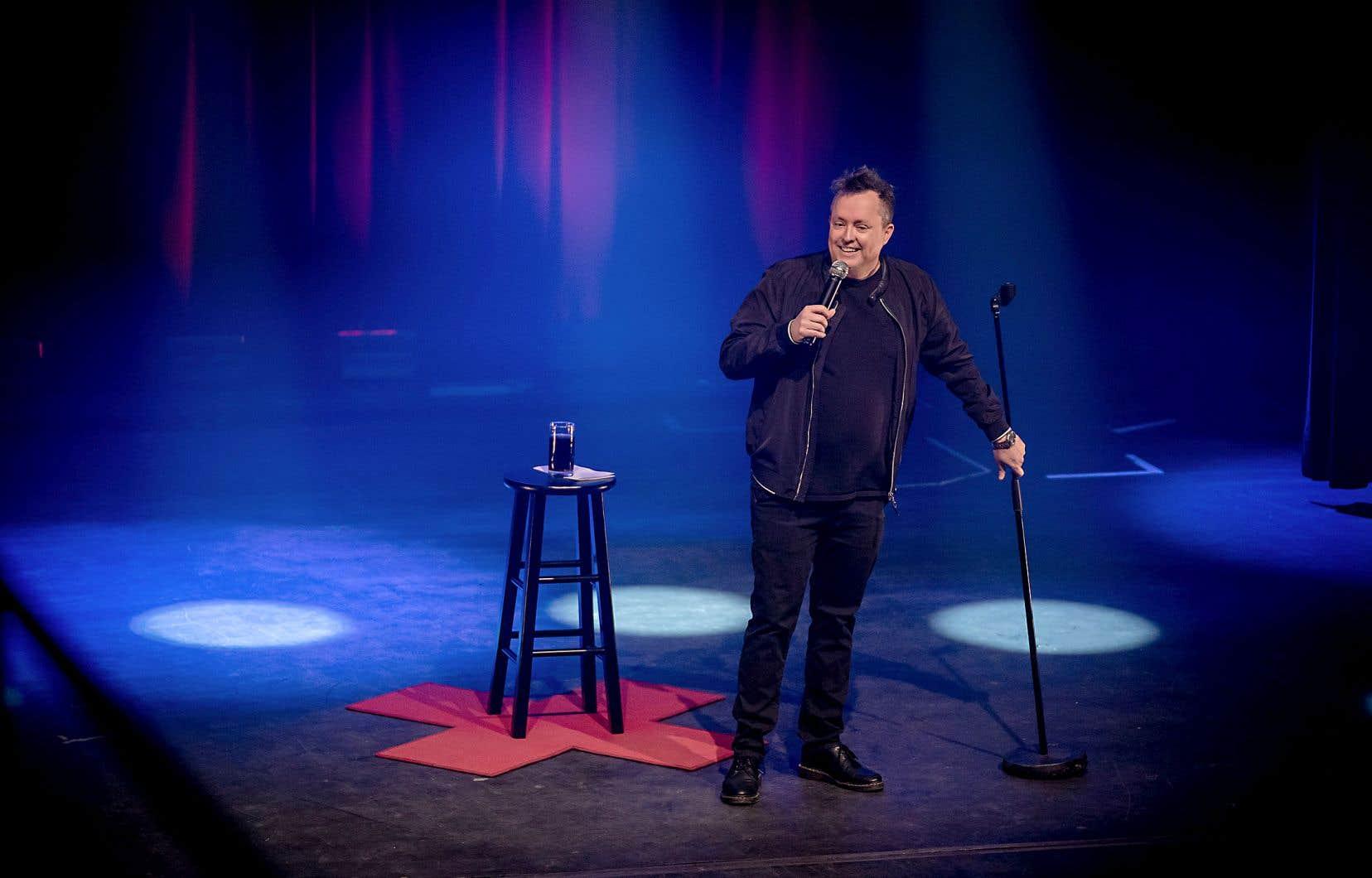 La première du cinquième spectacle de l'humoriste grinçant avait lieu mercredi soir au Club Soda, à Montréal.
