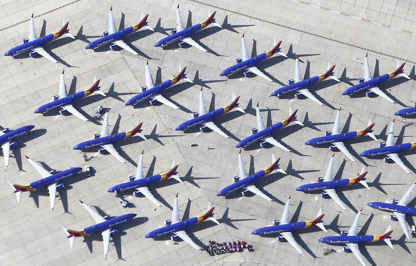Des appareils Boeing 737 MAX de la compagnie Southwest, stationnés à Victorville, en Californie