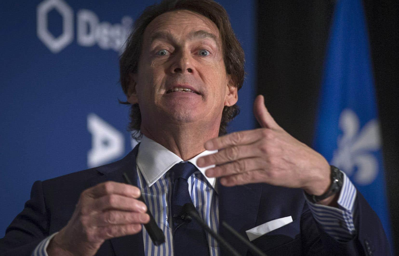 Pierre Karl Péladeau s'est exprimé devant le Conseil des relations internationales de Montréal (CORIM), mardi.