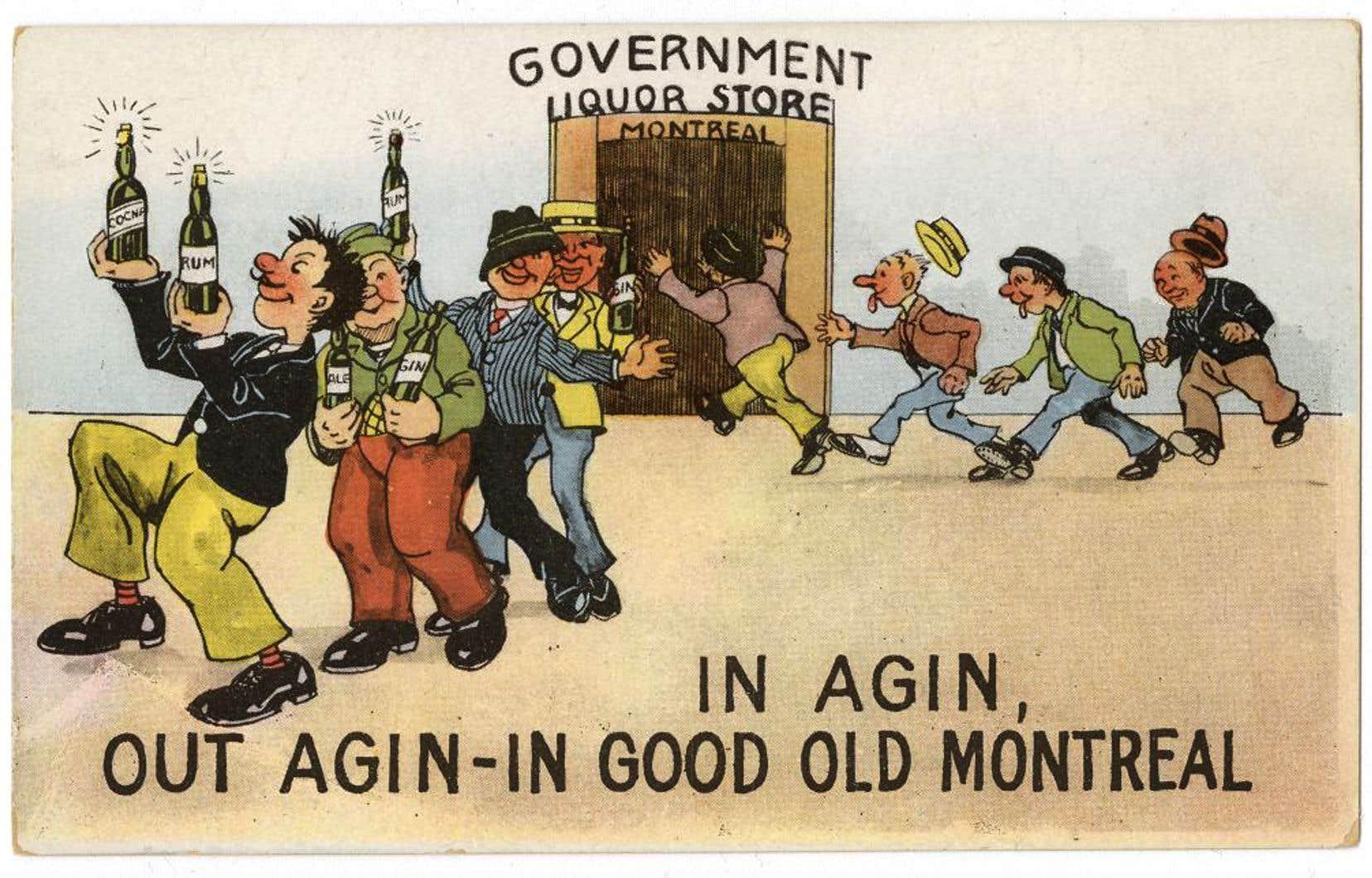 En pleine prohibition aux États-Unis, entre 1920 et 1933, une carte postale dépeint Montréal comme l'endroit par excellence pour les amateurs d'alcool.