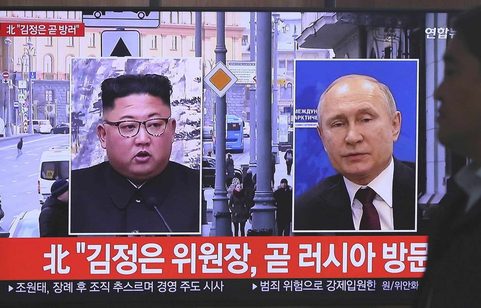 La télévision sud-coréenne faisait état, mardi, de la rencontre à venir entre Vladimir Poutine et Kim Jong-un.