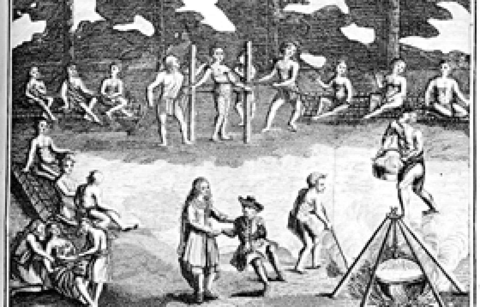 Gravure tirée d'un ouvrage de Claude Le Beau, Aventures du Sieur Le Beau ou voyage nouveau et curieux parmi les sauvages de l'Amérique septentrionale, 1738
