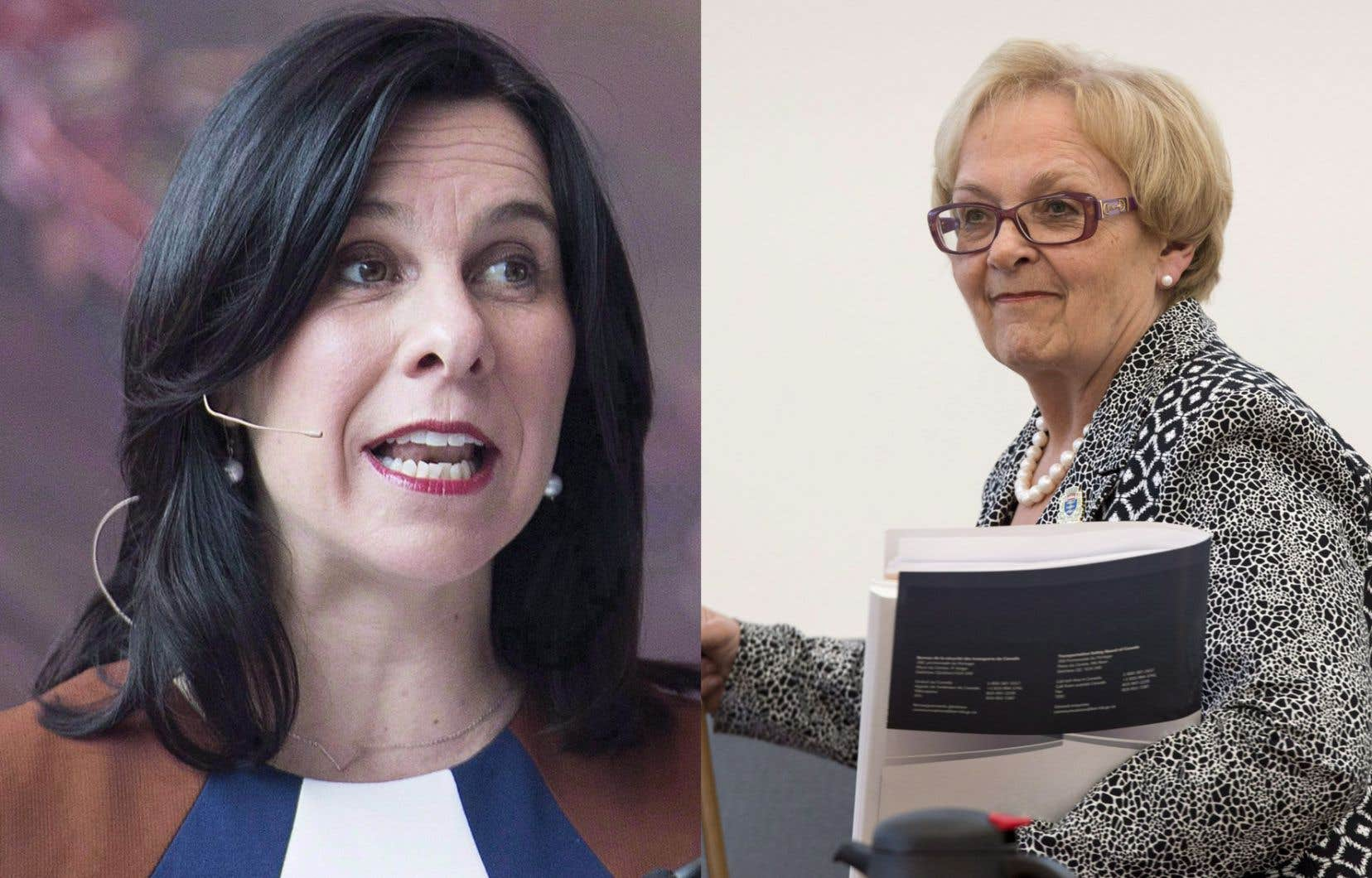 La mairesse de Montréal, Valérie Plante (à gauche), et l'ex-mairesse de Lac-Mégantic, Colette Roy Laroche, qui s'est illustrée par sa gestion pleine d'humanité de la tragédie ferroviaire en 2013.<br />