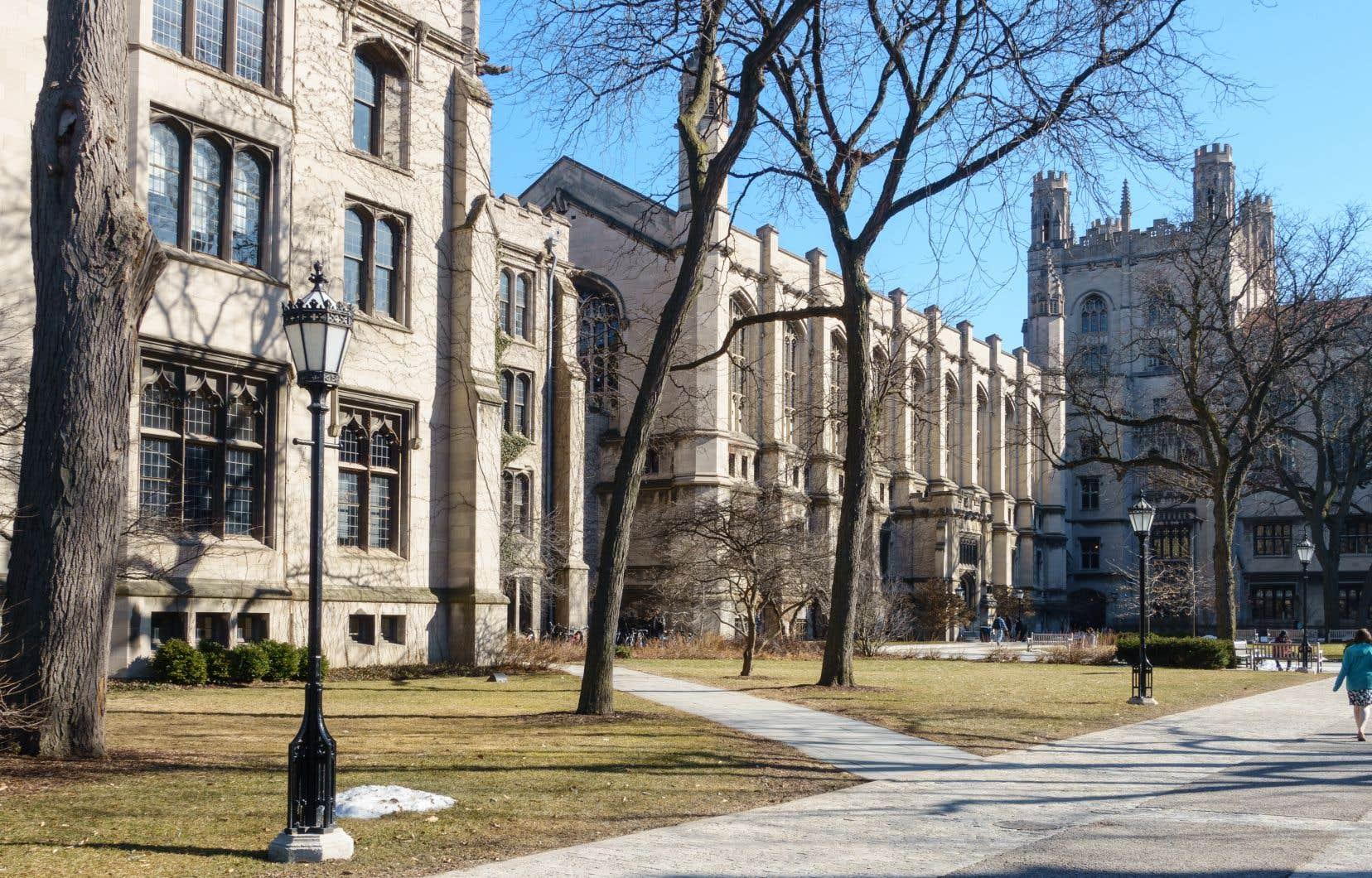 Les murs de pierre soutenus par d'imposants contreforts de l'Université de Chicago, les fenêtres en ogive ainsi que les classes lambrissées de bois sombres conservent les traces d'un certain idéal d'éducation, selon l'auteur.