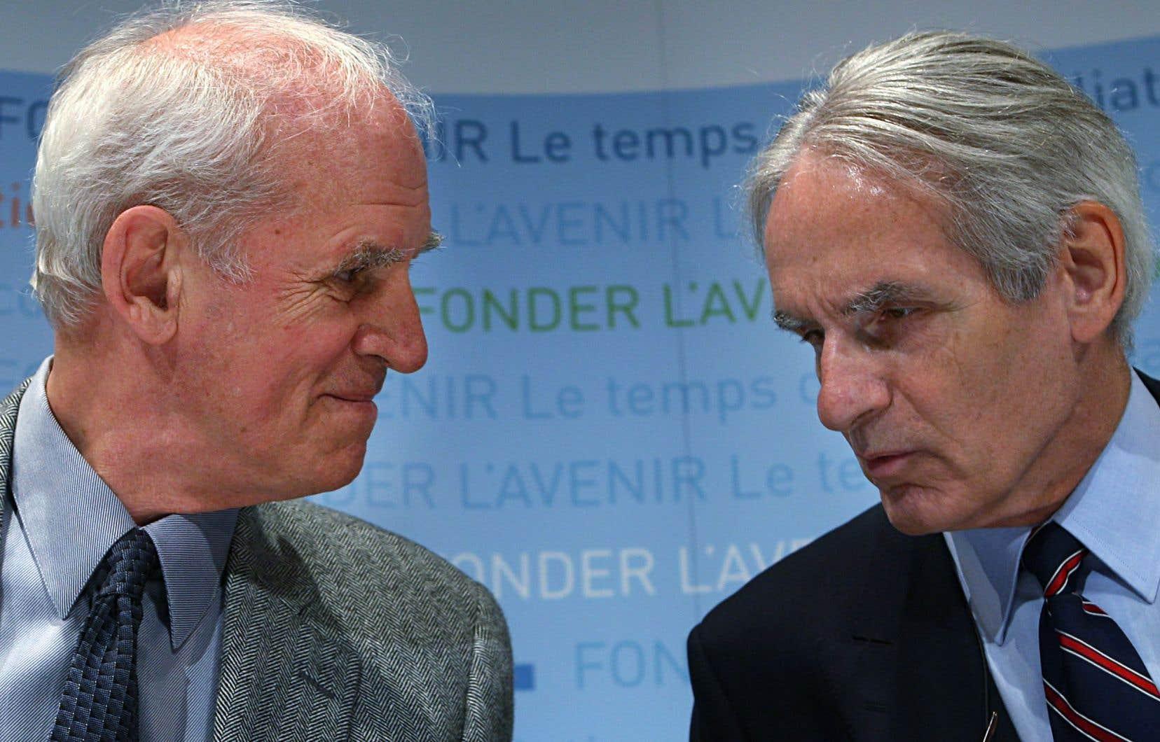 Charles Taylor et Gérard Bouchard à l'époque de la commission sur les accommodements raisonnables