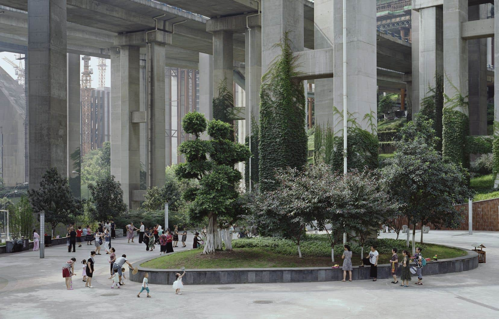 L'image d'une «forêt» sous le pont de l'Egongyan, présentée dans le cadre de l'exposition «Nos jours heureux»