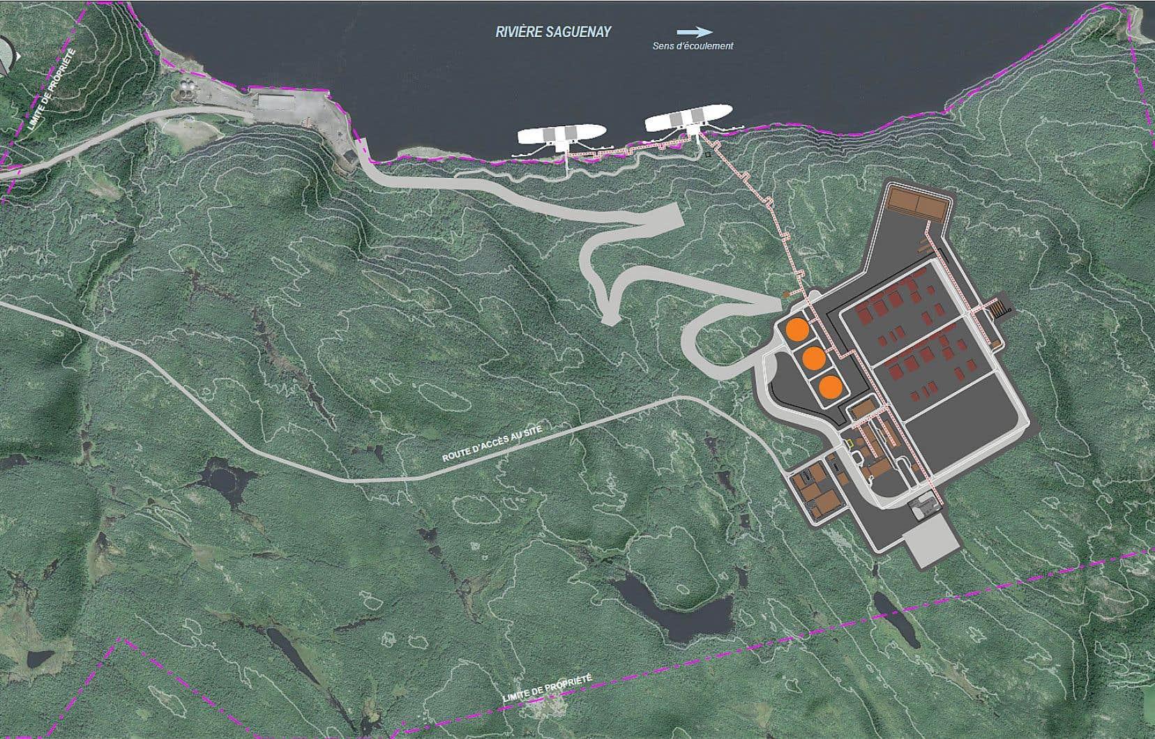 Le projet d'usine est situé sur un terrain appartenant à l'administration portuaire de Saguenay.