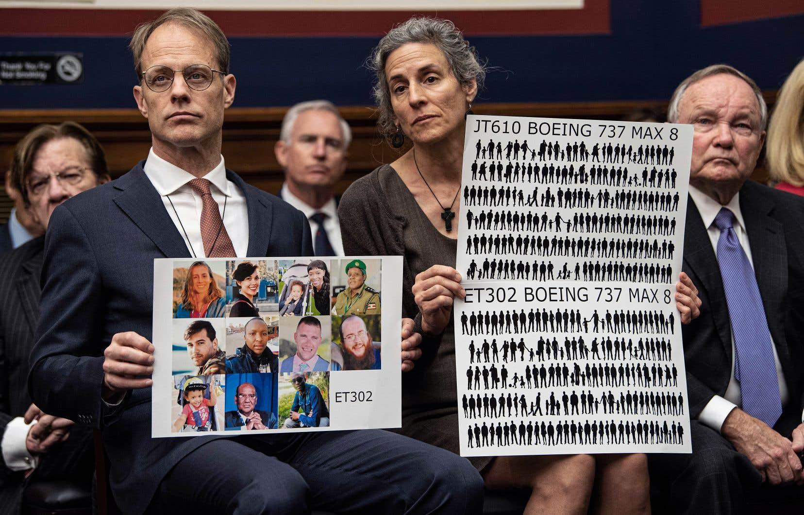 Michael Stumo et Nadia Milleron, les parents de Samya Stumo, qui est morte dans l'écrasement d'un Boeing 737 MAX en mars dernier, assistaient à l'audience de l'Agence fédérale de l'aviation au Congrès américain.