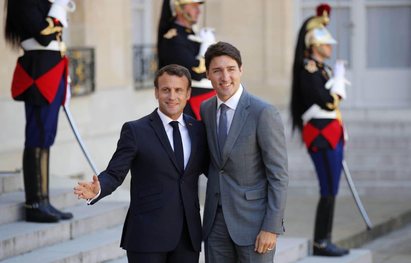 Le président Macron recevait à Paris des dirigeants du monde entier, dont le premier ministre Justin Trudeau.
