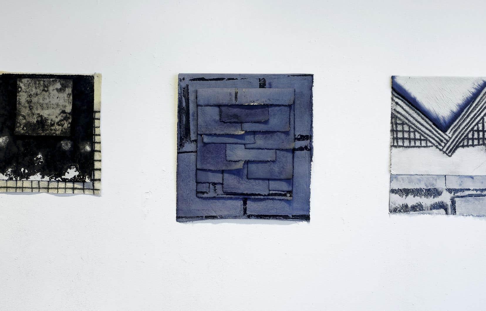 Marie-Claude Bouthillier, «Matière à tableau étude 01, 02 et 05», 2016-2019